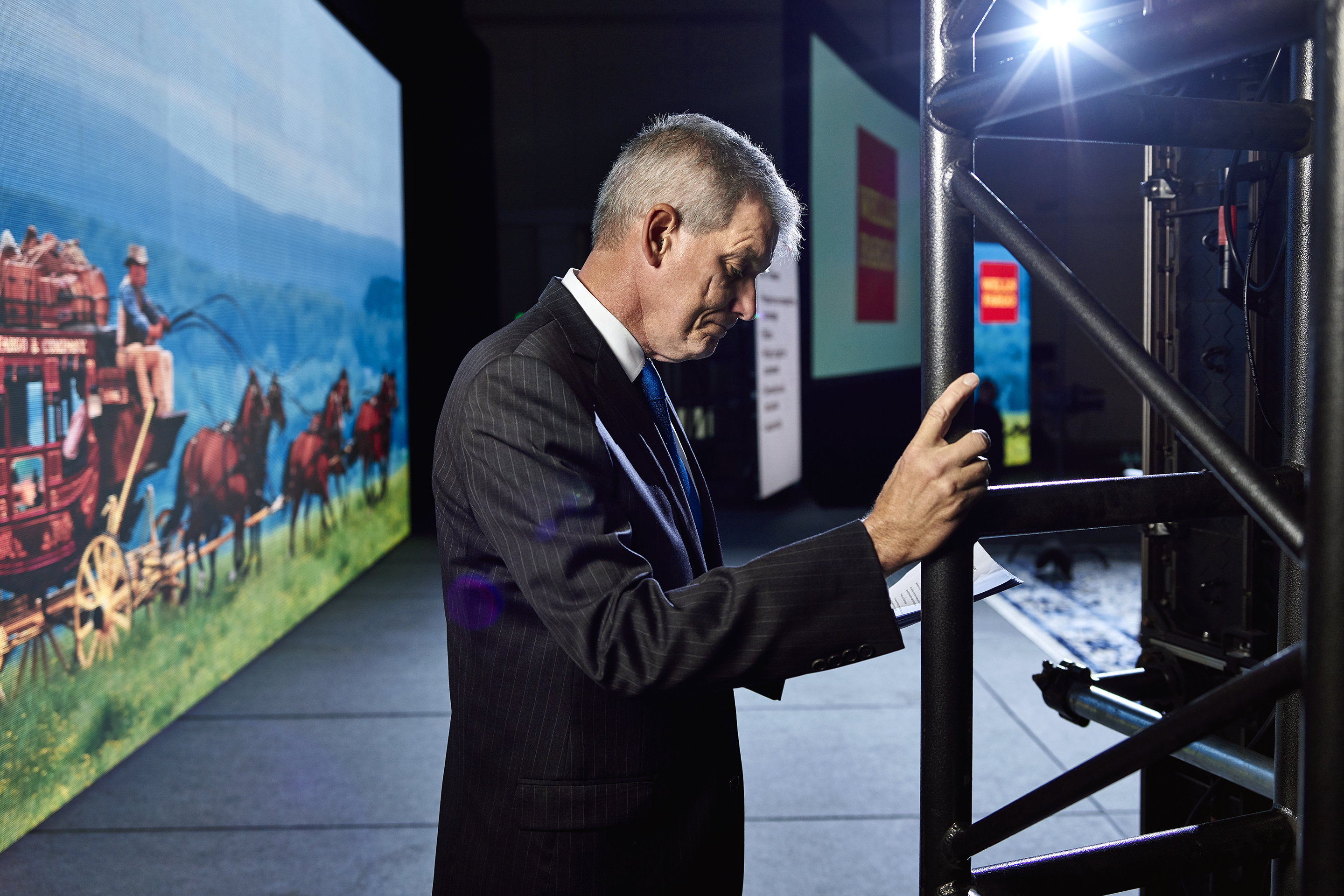 Wells Fargo CEO Tim Sloan rehearses for a company town hall in May at the Pasadena Convention Center.
