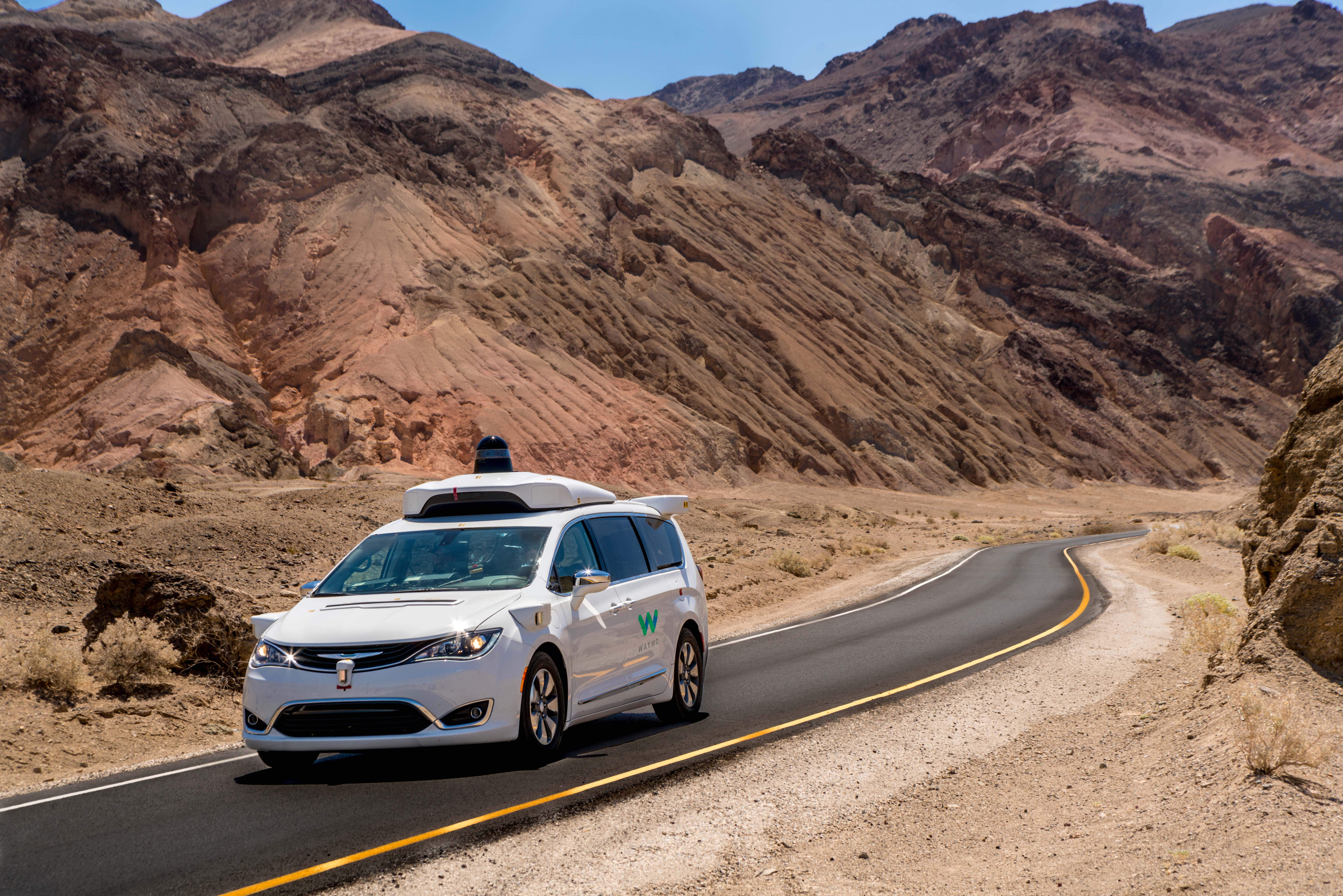 Waymo sent its Chrysler Pacifica self-driving minivans to Death Valley and other hotspots.