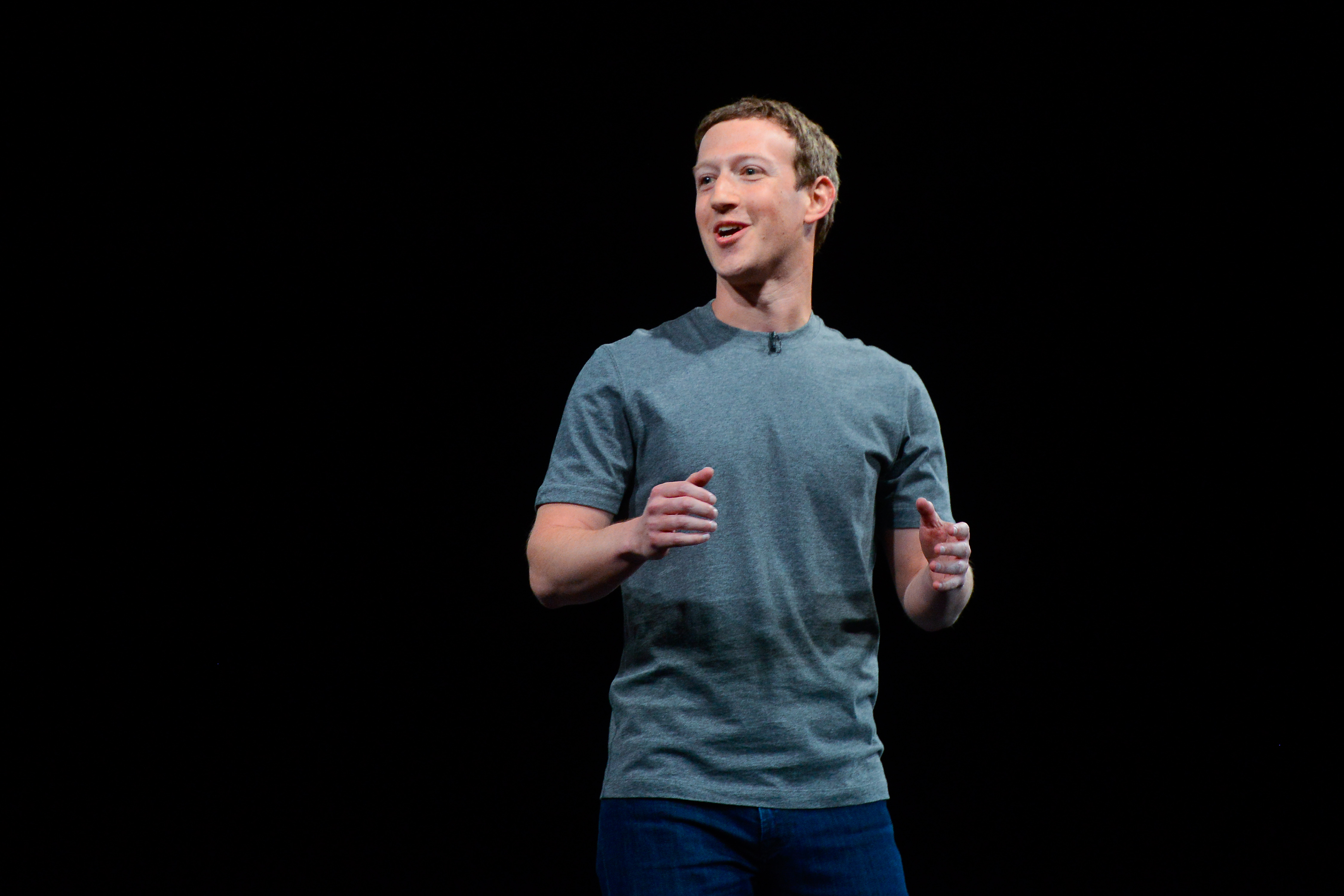 Founder and CEO of Facebook Mark Zuckerberg giving a speech.