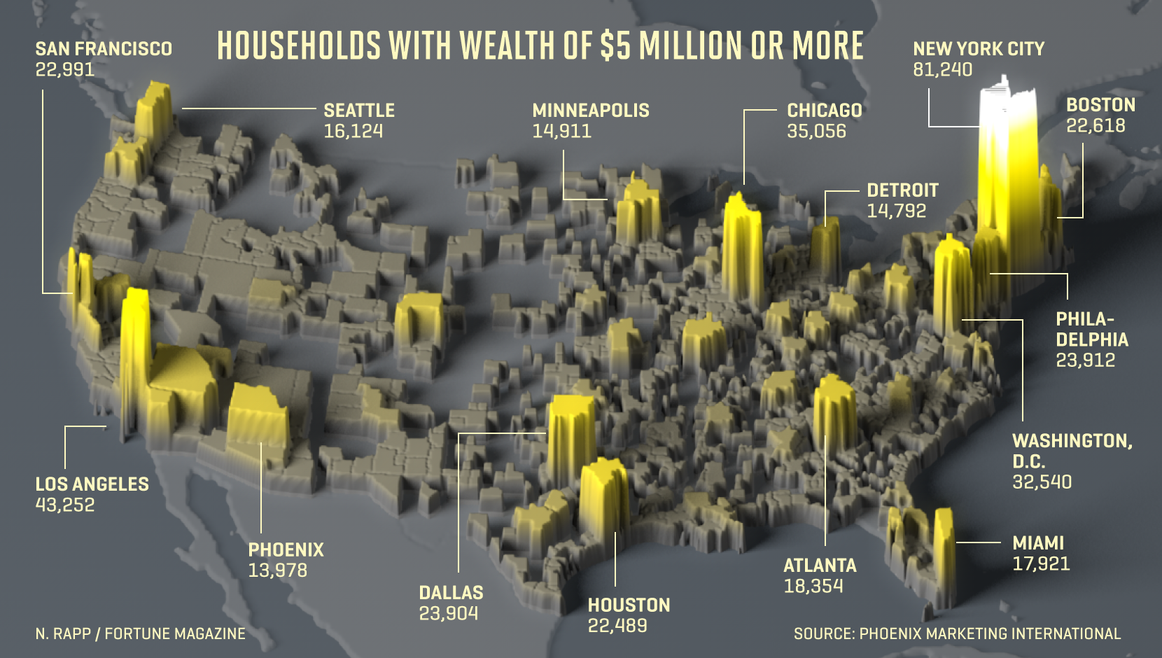 Map shows the number of $5M plus households in the U.S.