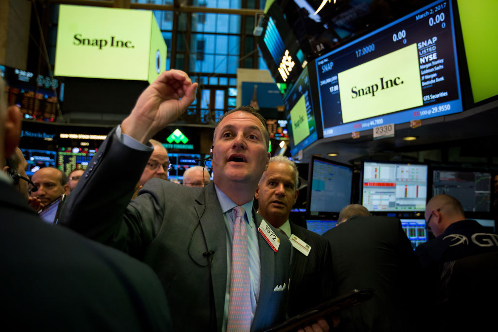Trading On The Floor Of The NYSE As All Eyes on Snap After 2017's First Tech IPO Prices Above Range