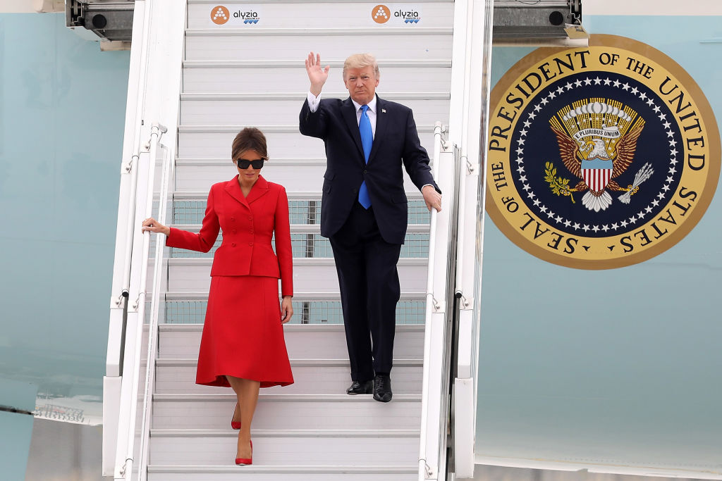 U.S. President Donald Trump Arrives At Orly Airport