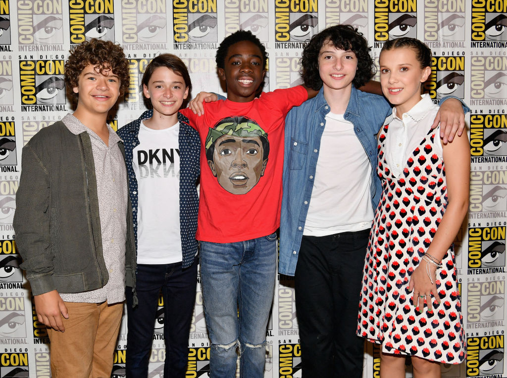 "at Netflix's ""Stranger Things"" Press line during Comic-Con International 2017 at Hilton Bayfront on July 22, 2017 in San Diego, California."