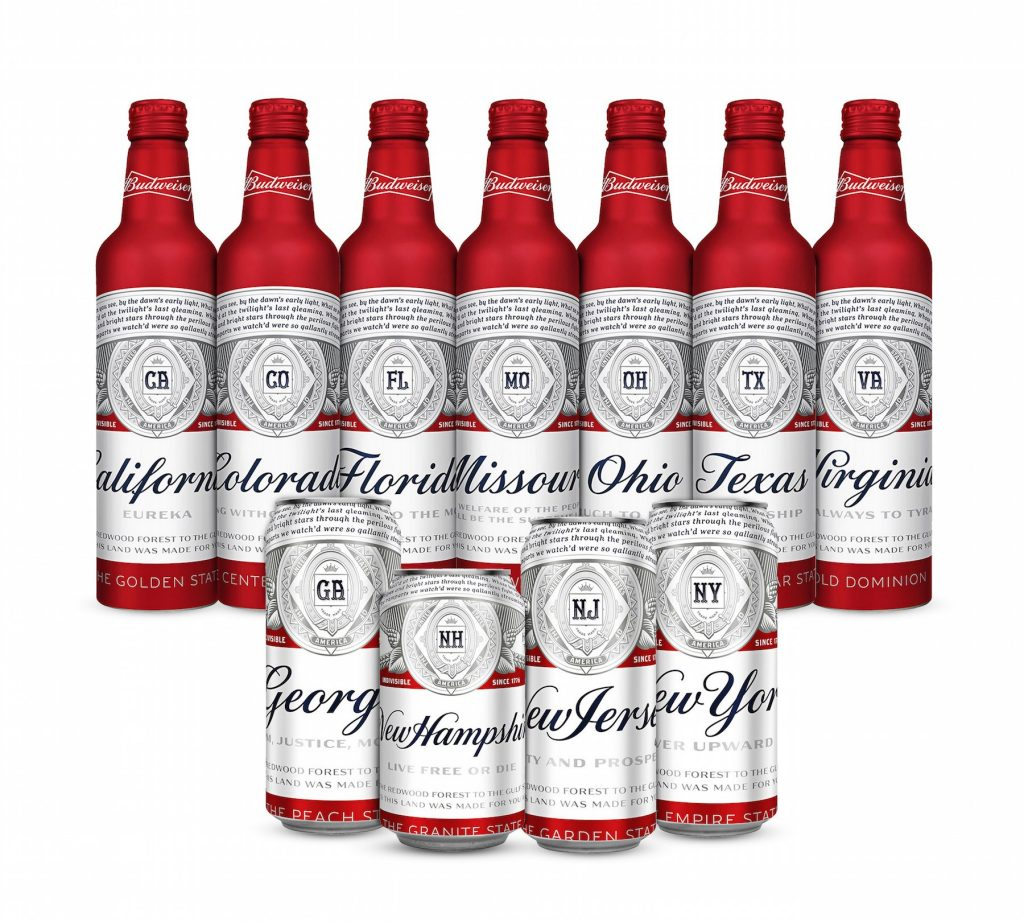 Budweiser's new cans will feature the names of 11 states where breweries are located.