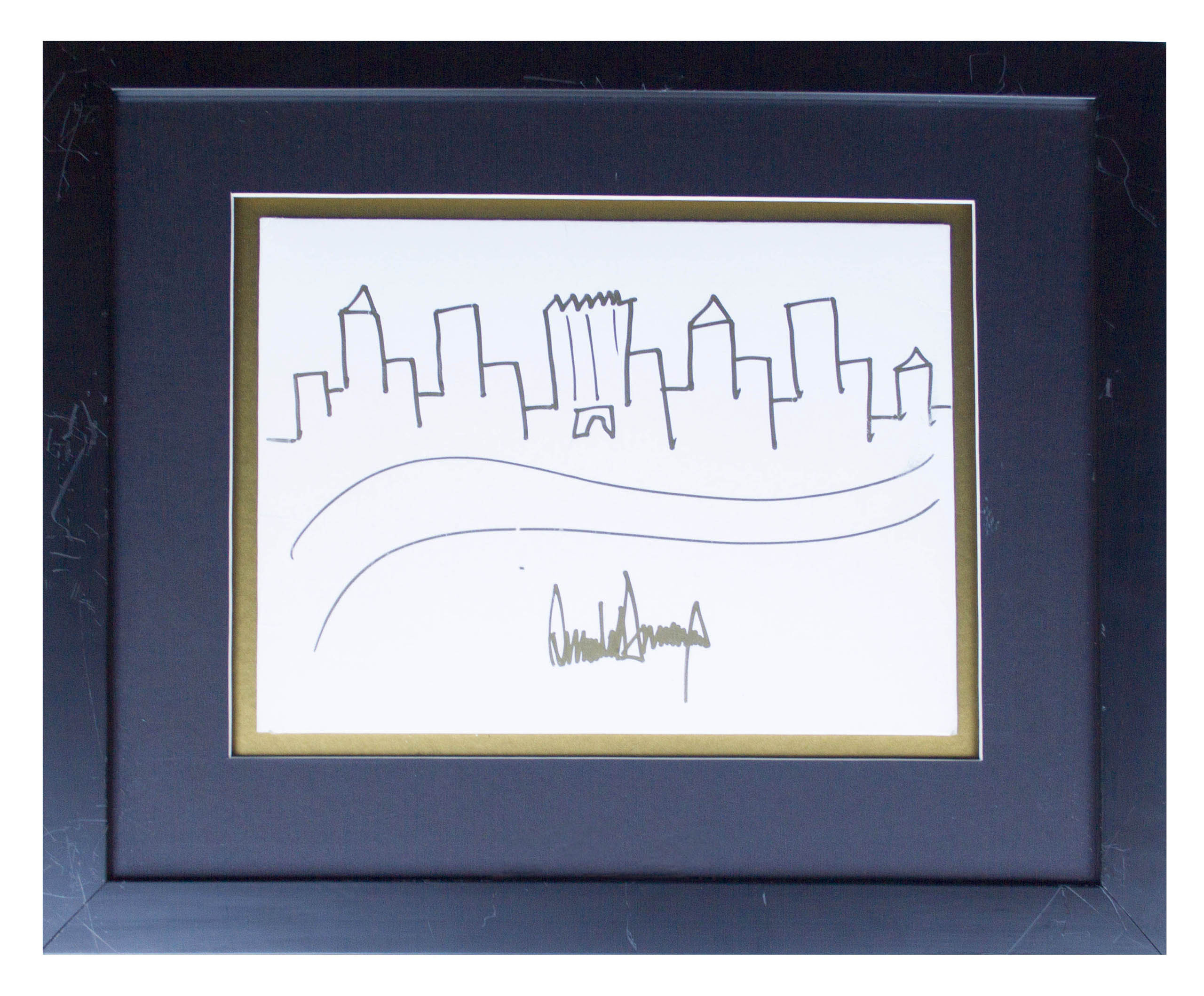 Trump's sketch of the New York City skyline.