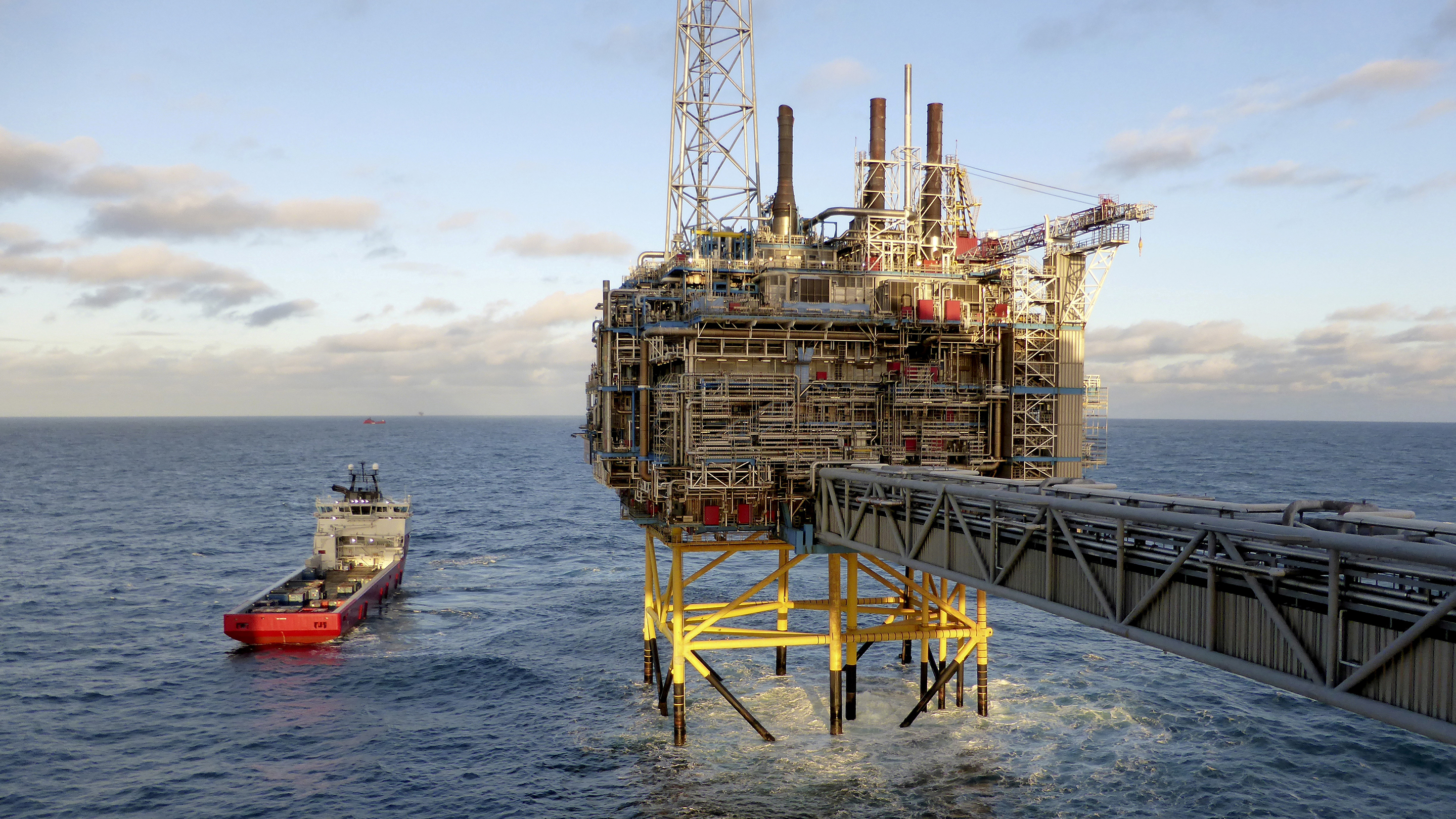 Oil and gas company Statoil gas processing and CO2 removal platform Sleipner T is pictured in the offshore near the Stavanger
