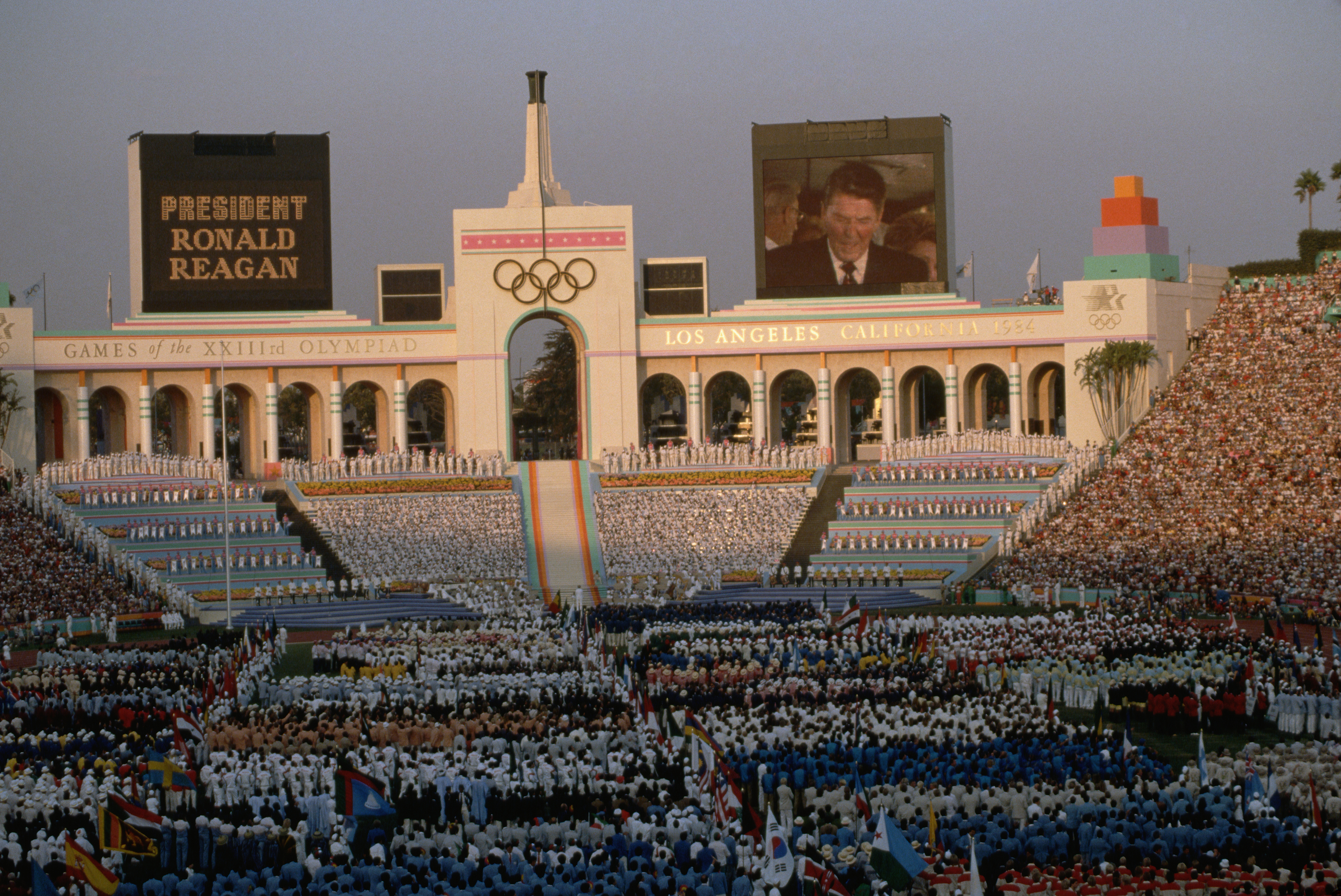 Ronald Reagan Speaks at Olympic Opening Ceremony