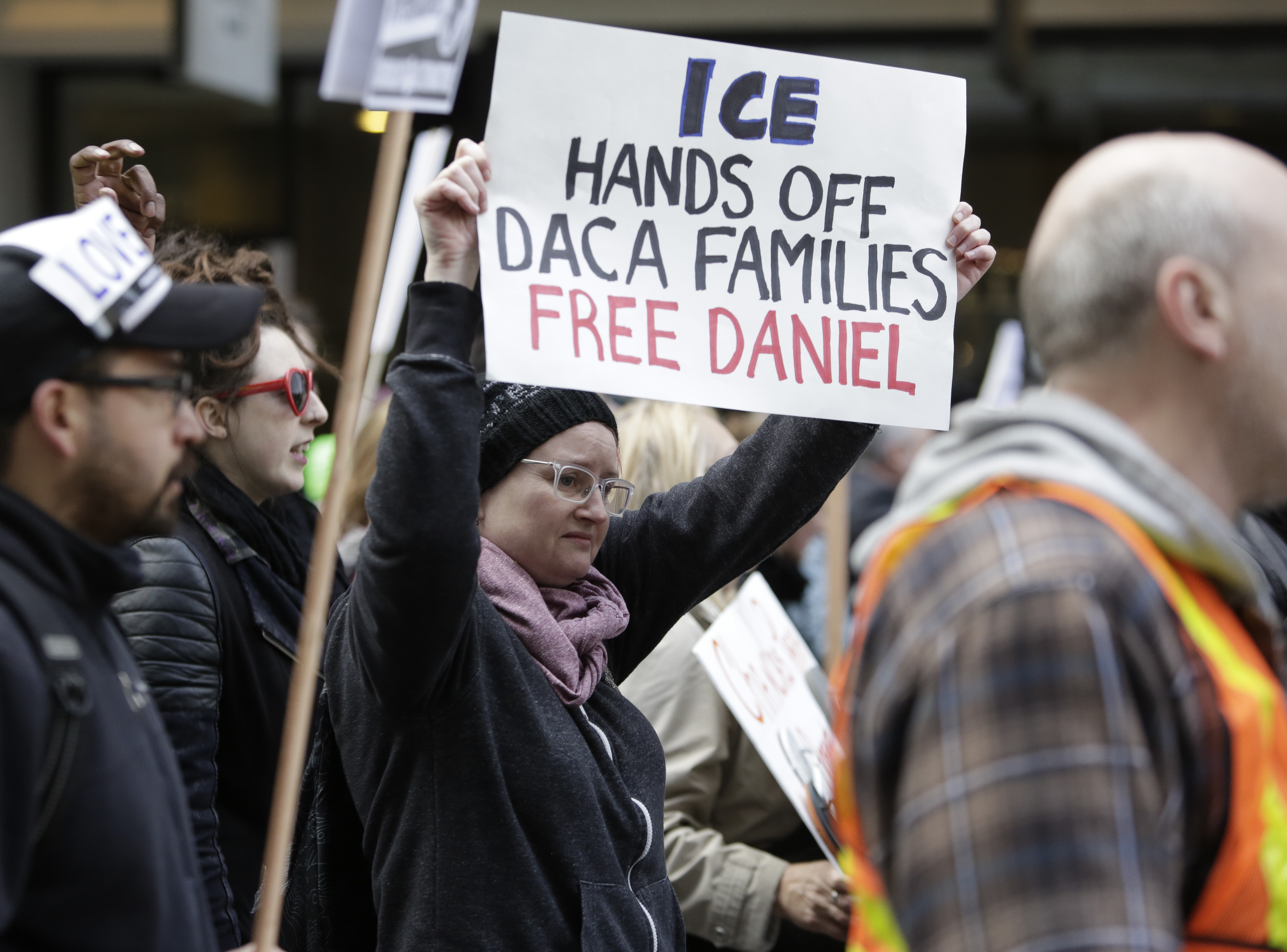 People march to protest the detention of Daniel Ramirez Medina, a Deferred Action for Childhood Arrivals (DACA) recipient, by US Immigration and Customs Enforcement (ICE) in Seattle, Washington on February 17, 2017.