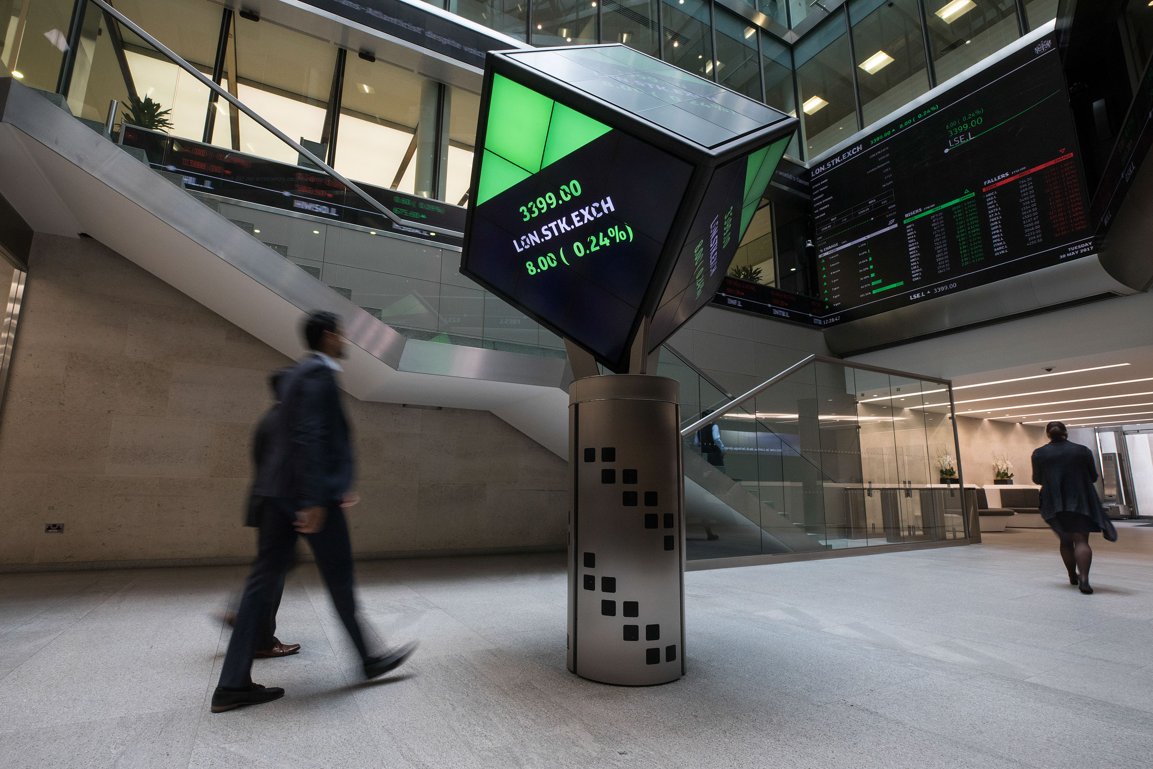 Inside The London Stock Exchange As FTSE 100 Heads For Best Monthly Gain Among Major European Markets