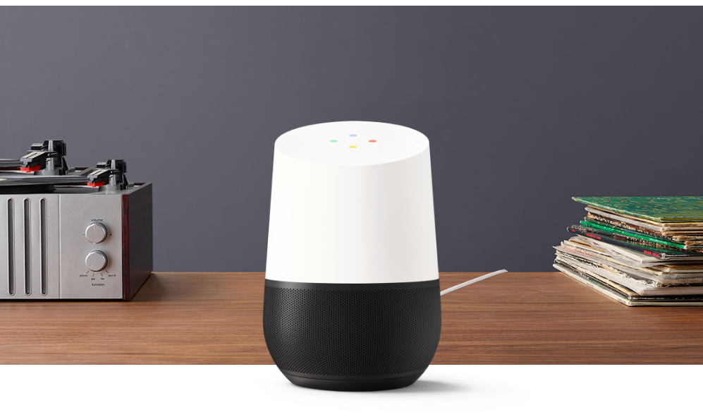 The Google Home smart home device.
