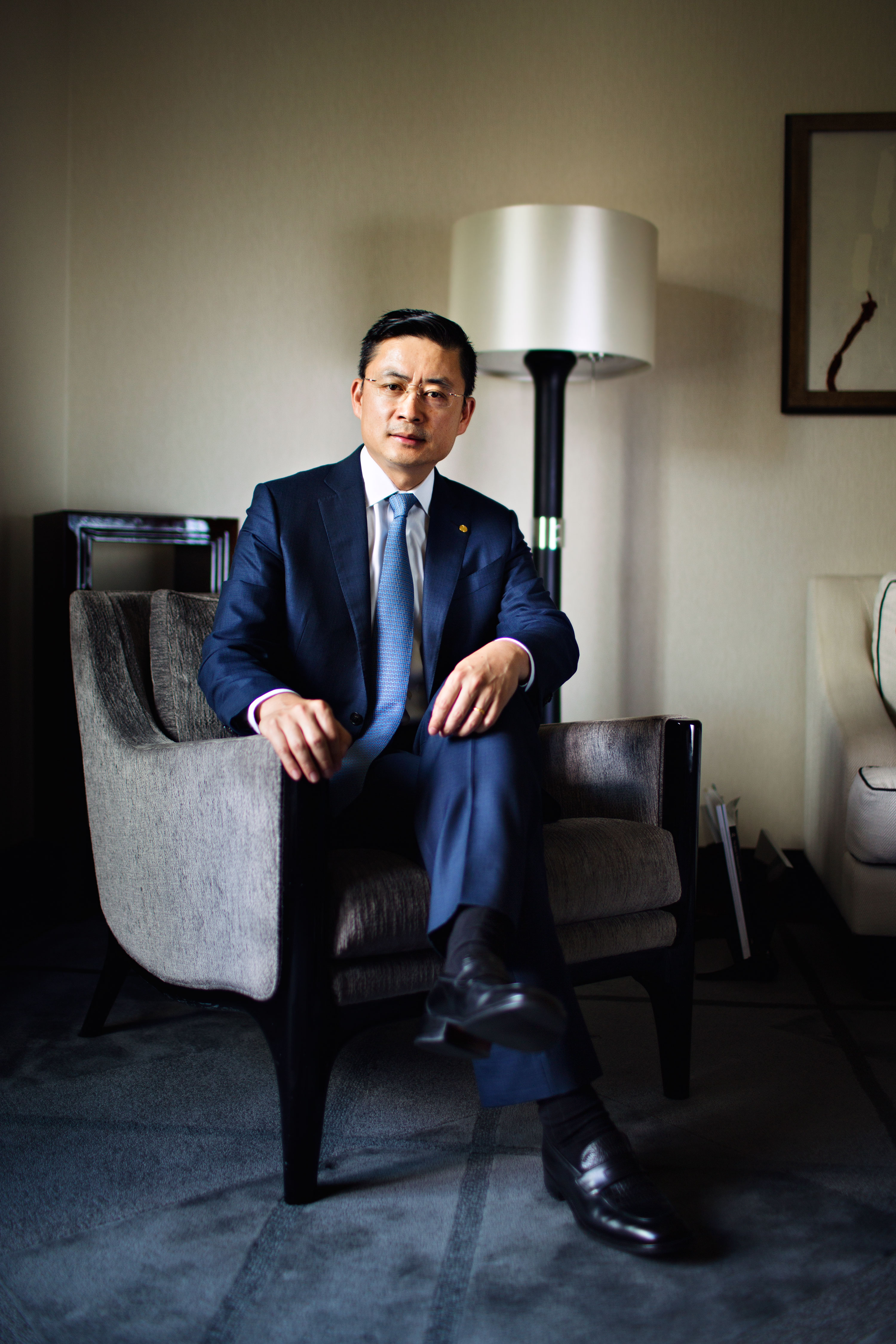 3 July, 2017 -Peninsula Hotel,Paris, France. -- PHOTO: Adam Tan, CEO of HNA.--Photographer: Julie Glassberg for Fortune.--