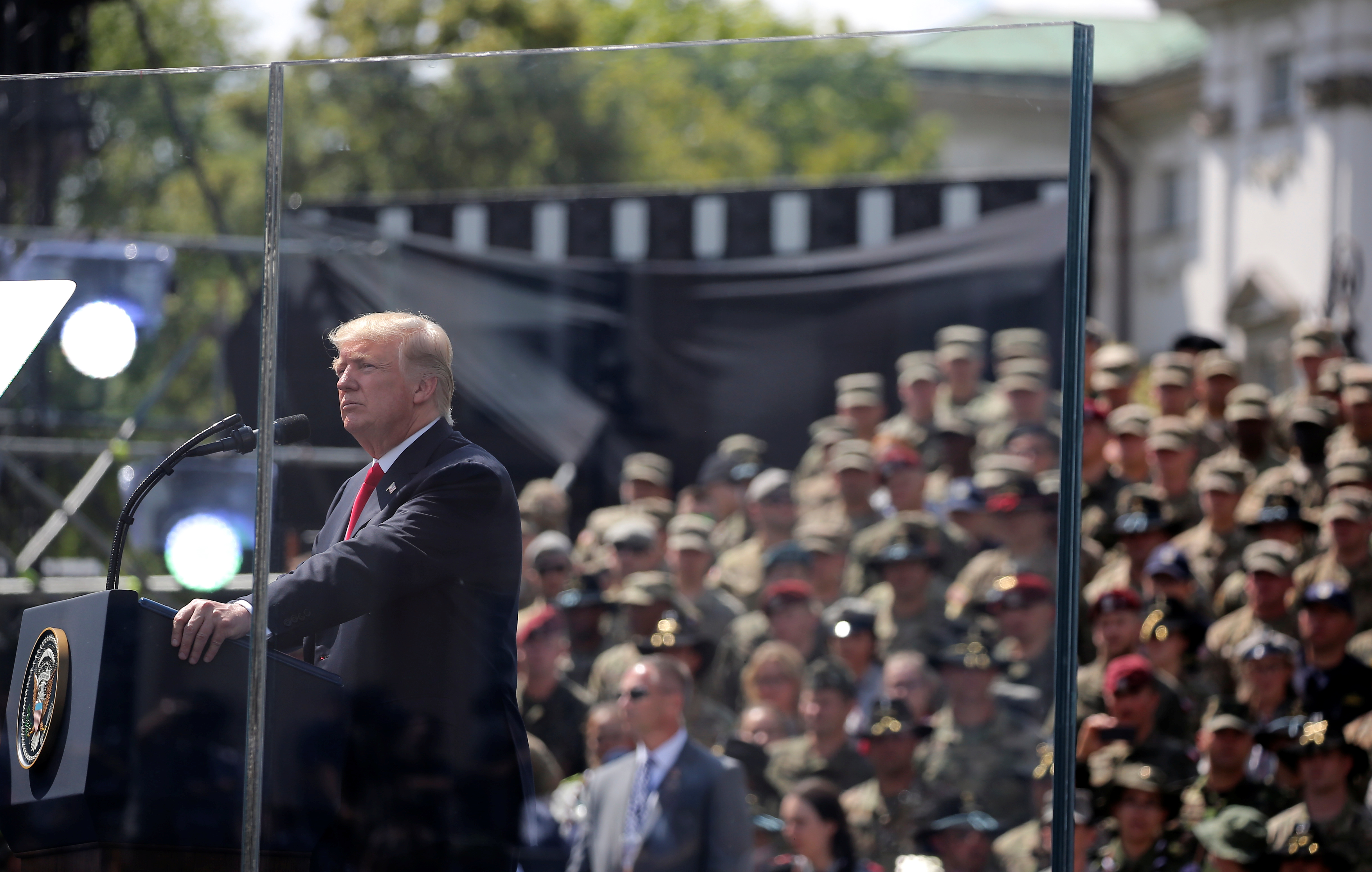 U.S. President Donald Trump gives a public speech at Krasinski Square in Warsaw