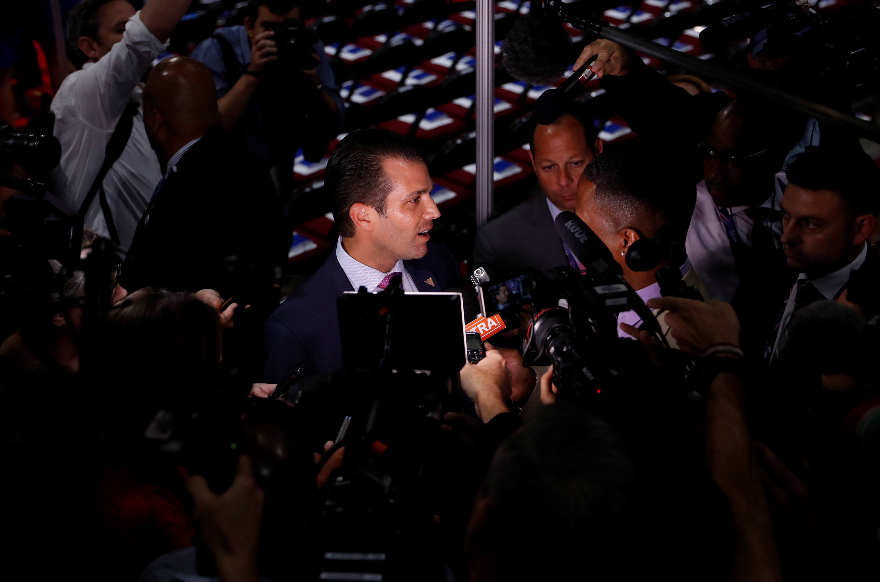Donald Trump Jr. gives a television interview at the 2016 Republican National Convention in Cleveland