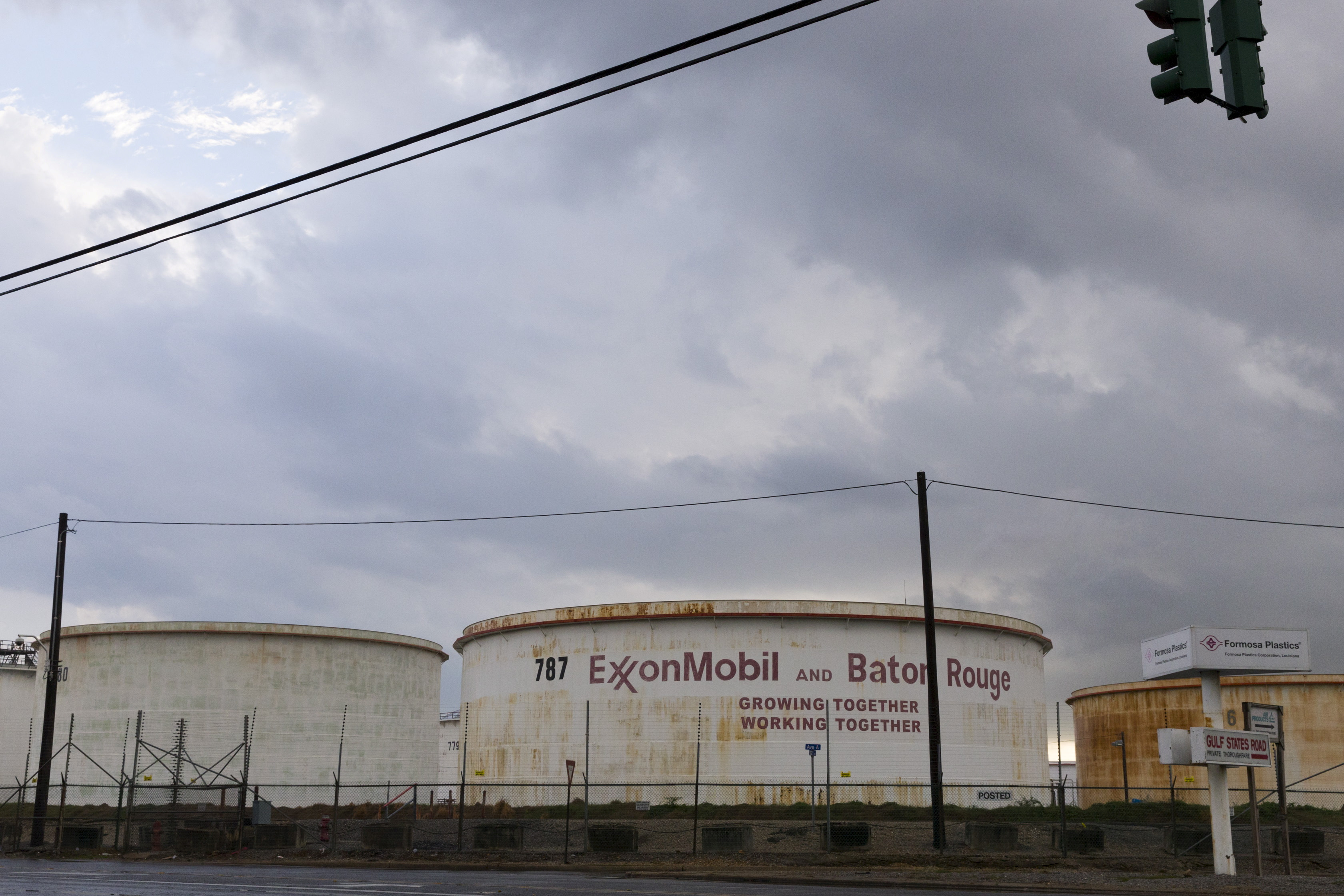 FILE PHOTO: Storage tanks are seen inside the Exxonmobil Baton Rouge Refinery in Baton Rouge