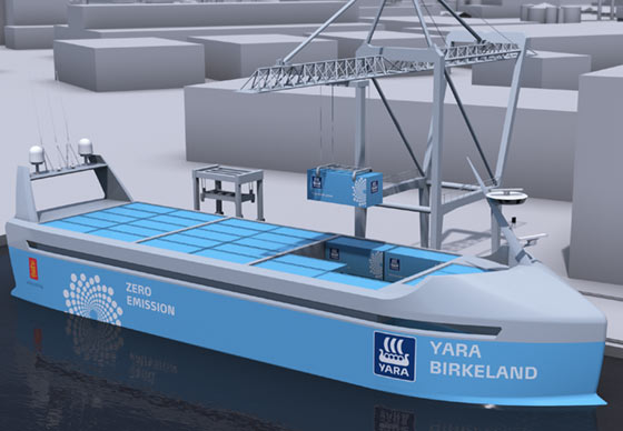 A design illustration of the Yara Birkeland, set to launch in 2018 and become the word's first autonomous container ship.