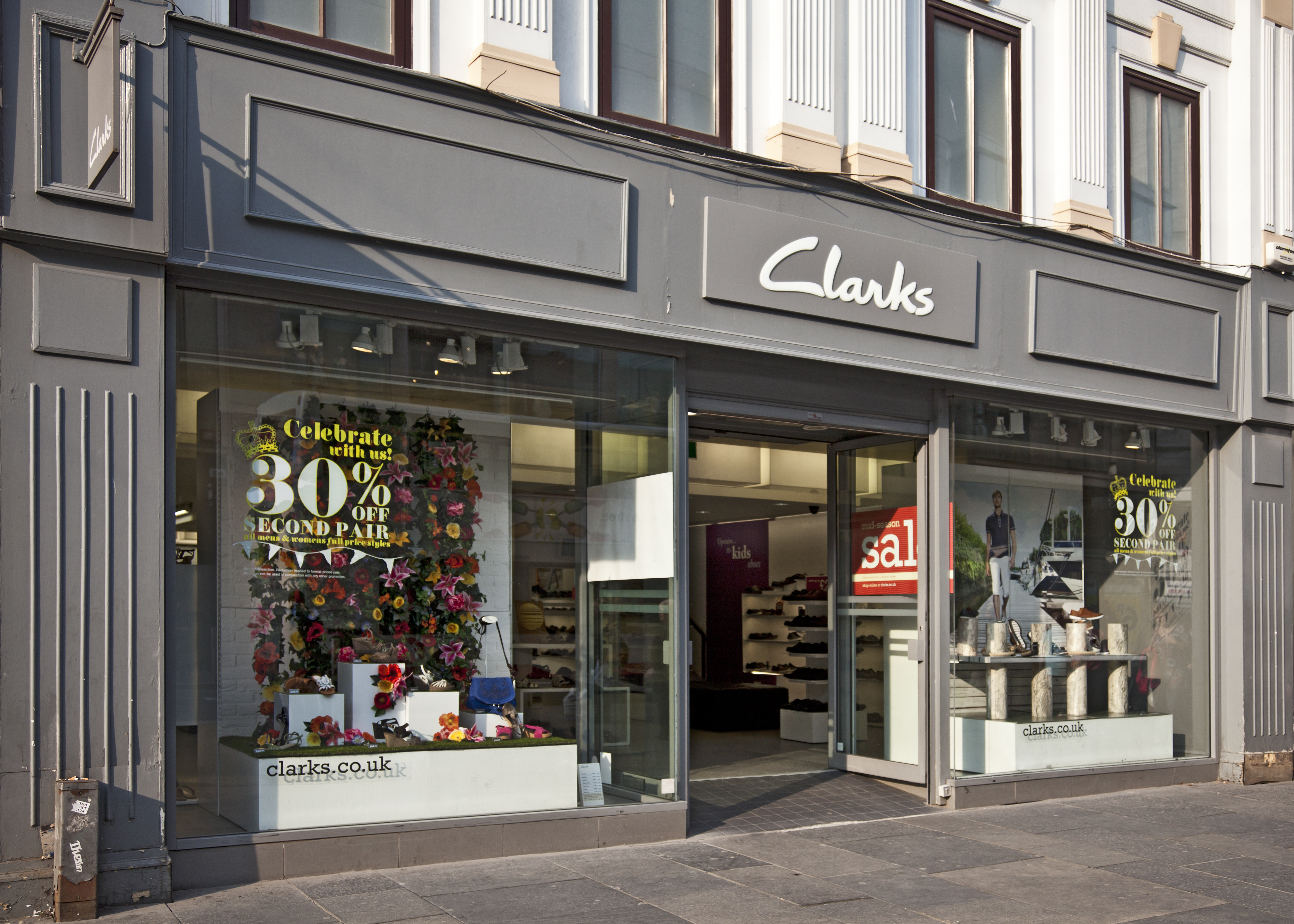 Frontage of a Clarks shoe shop in central Glasgow