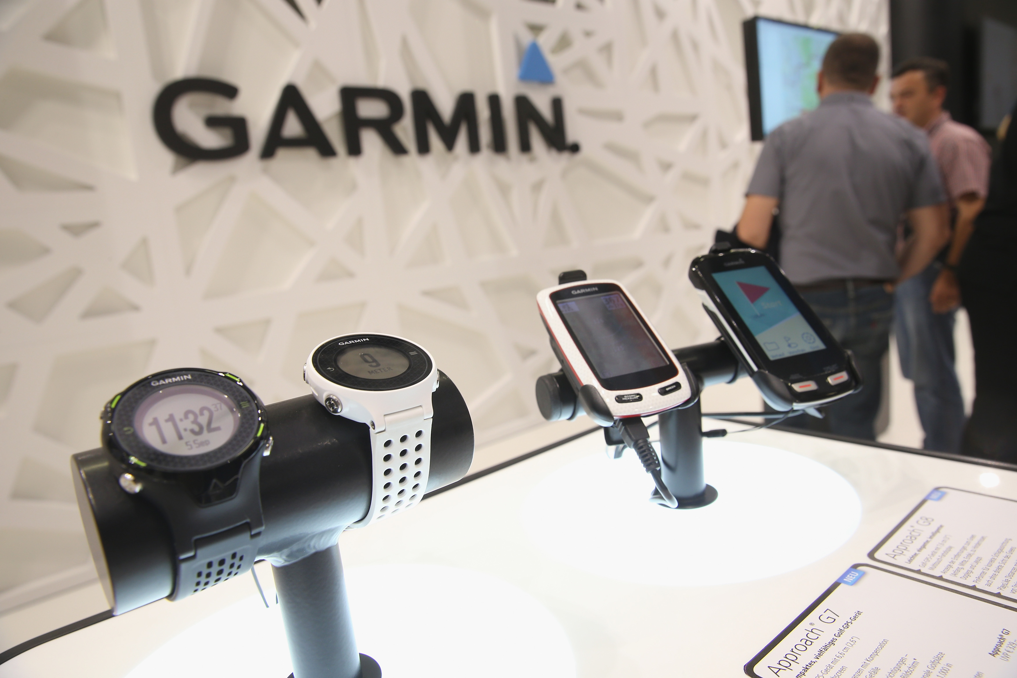 Garmin GPS devices designed for golfers on display.