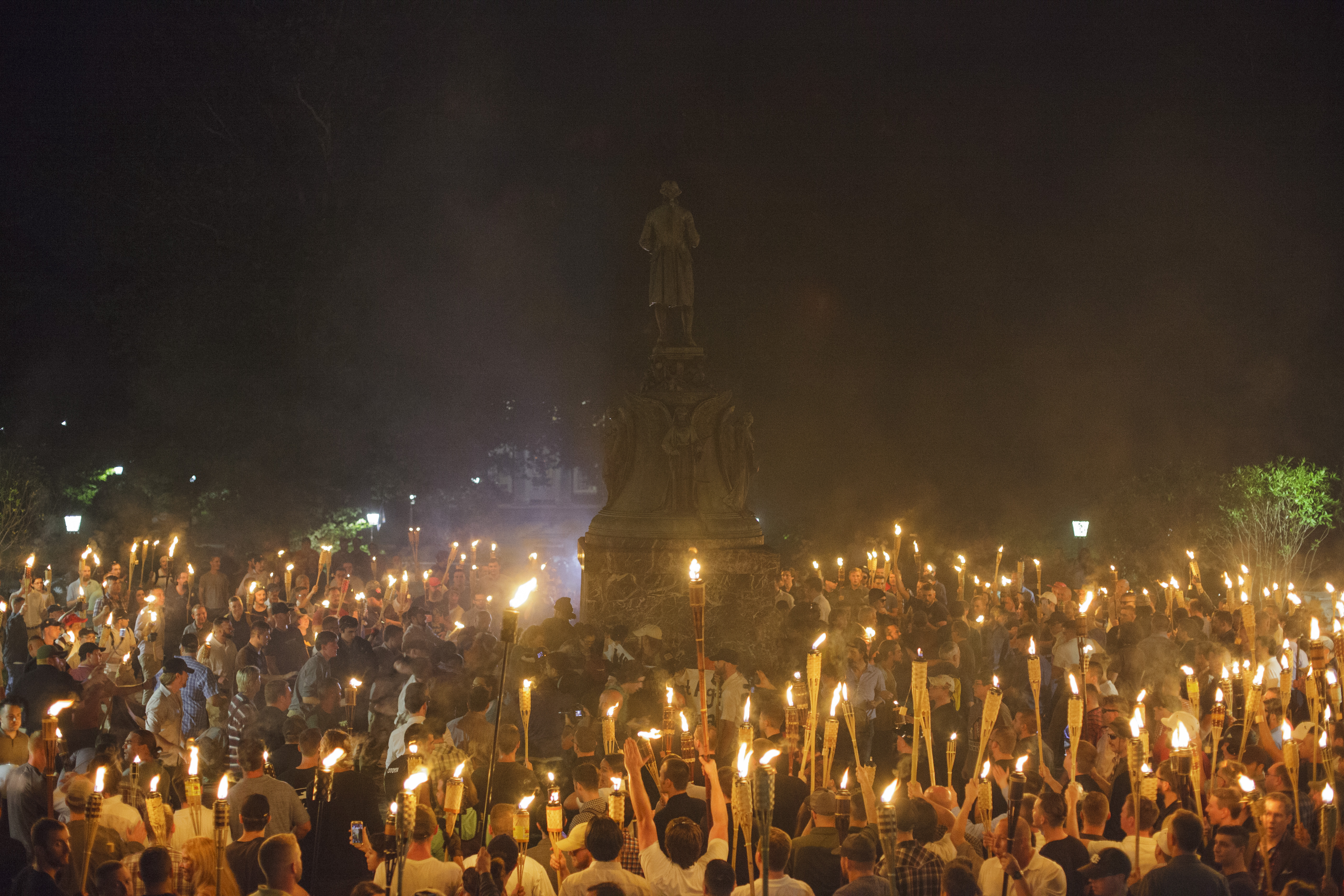 Alt Right, Neo Nazis hold torch rally at UVA.