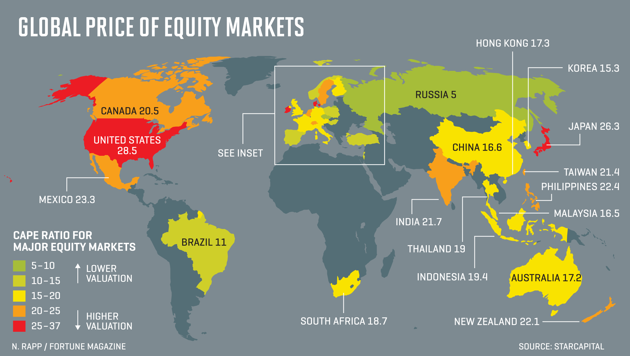 World S Most Expensive Stock Markets Mapped Fortune