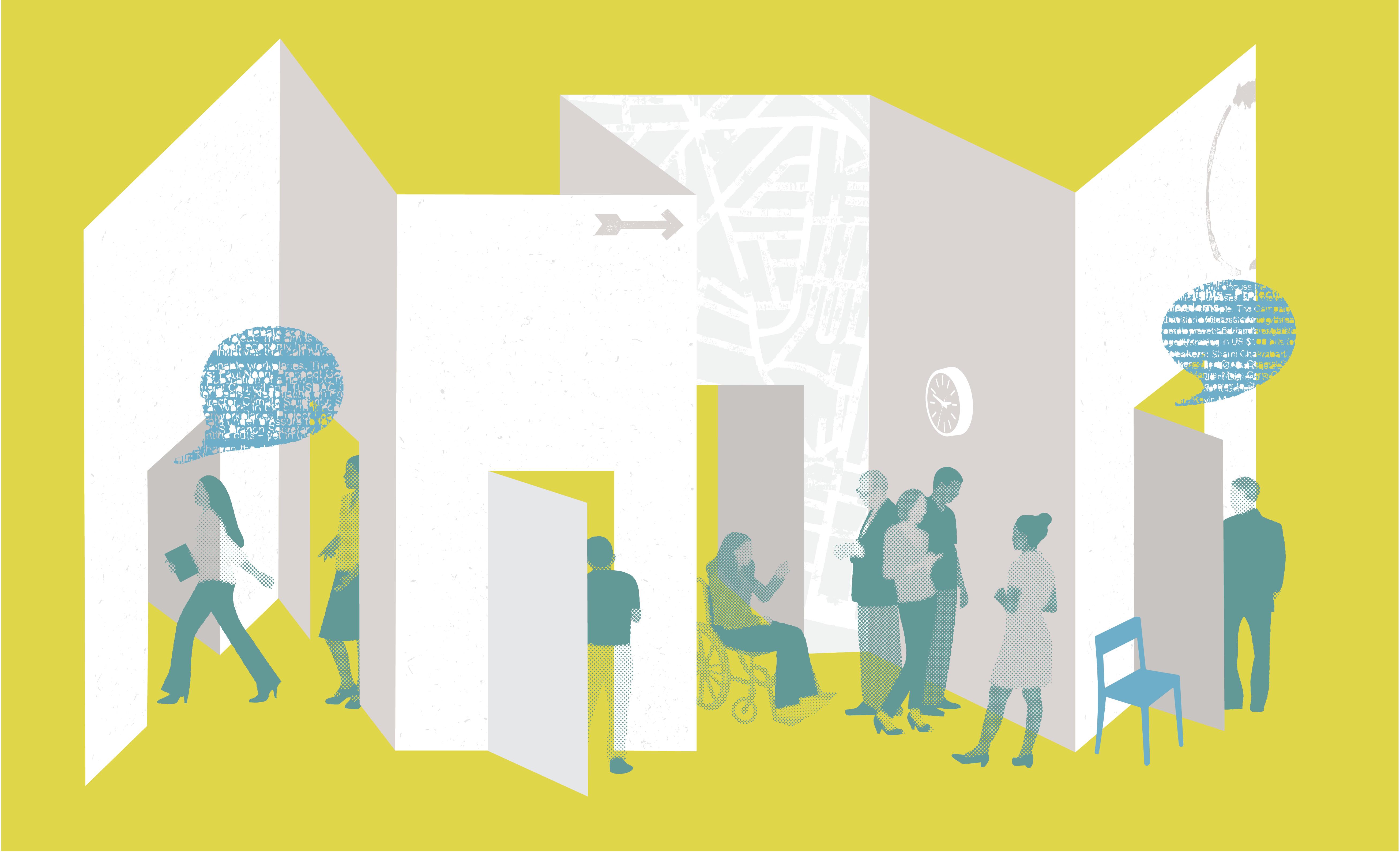 People with speech bubbles walking through doorways in brochure