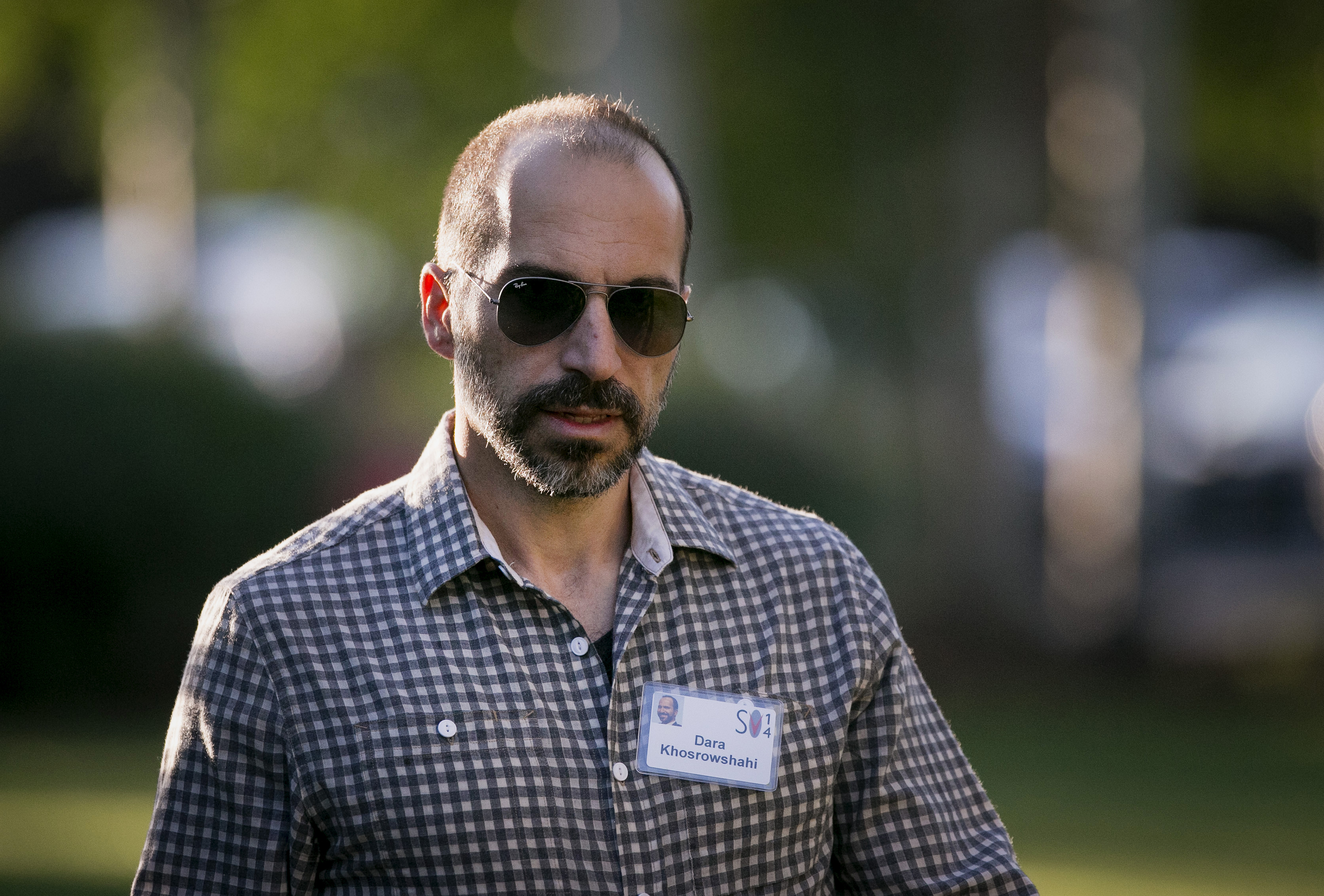 Dara Khosrowshahi arrives to a morning session at the Sun Valley Lodge during the Allen & Co. Media and Technology Conference in Sun Valley, Idaho, U.S., on Wednesday, July 9, 2014.