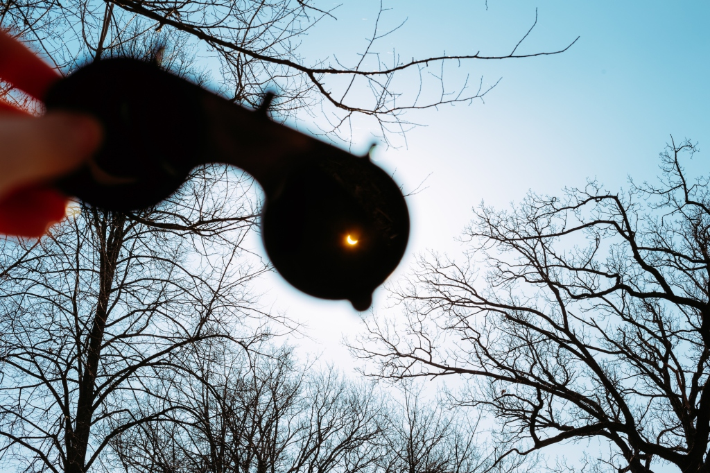 Real Solar Eclipse On March 20, 2015. Moon Covering Sun
