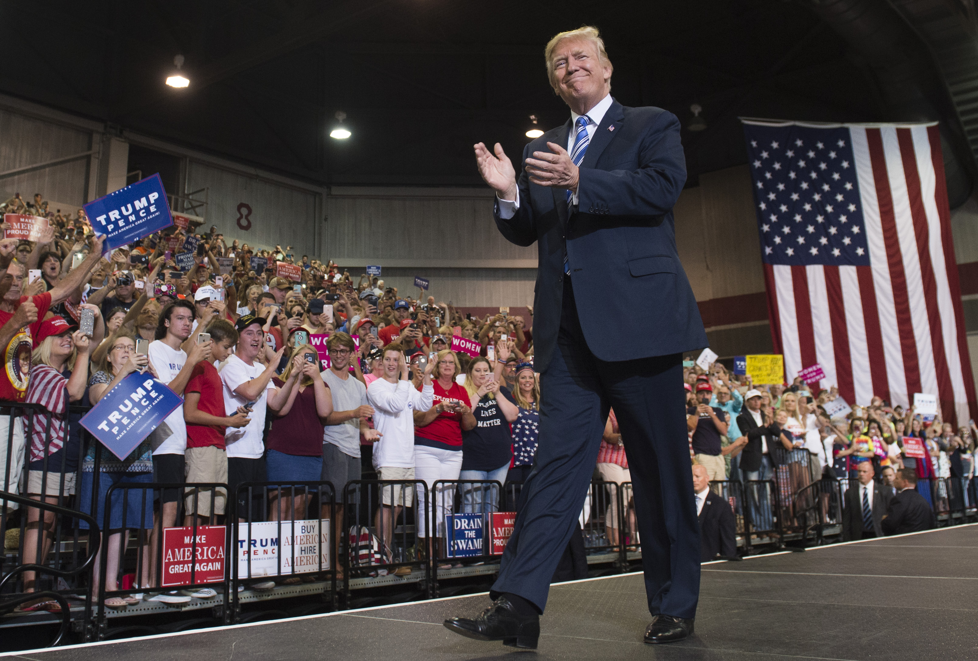 U.S. President Donald Trump arrives to speak at a Make America Great Again Rally at Big Sandy Superstore Arena in Huntington, West Virginia, August 3, 2017.