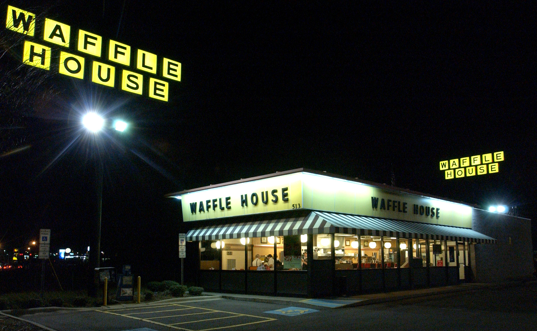 The Waffle House restaurant chain in Winston-Salem, North Carolina