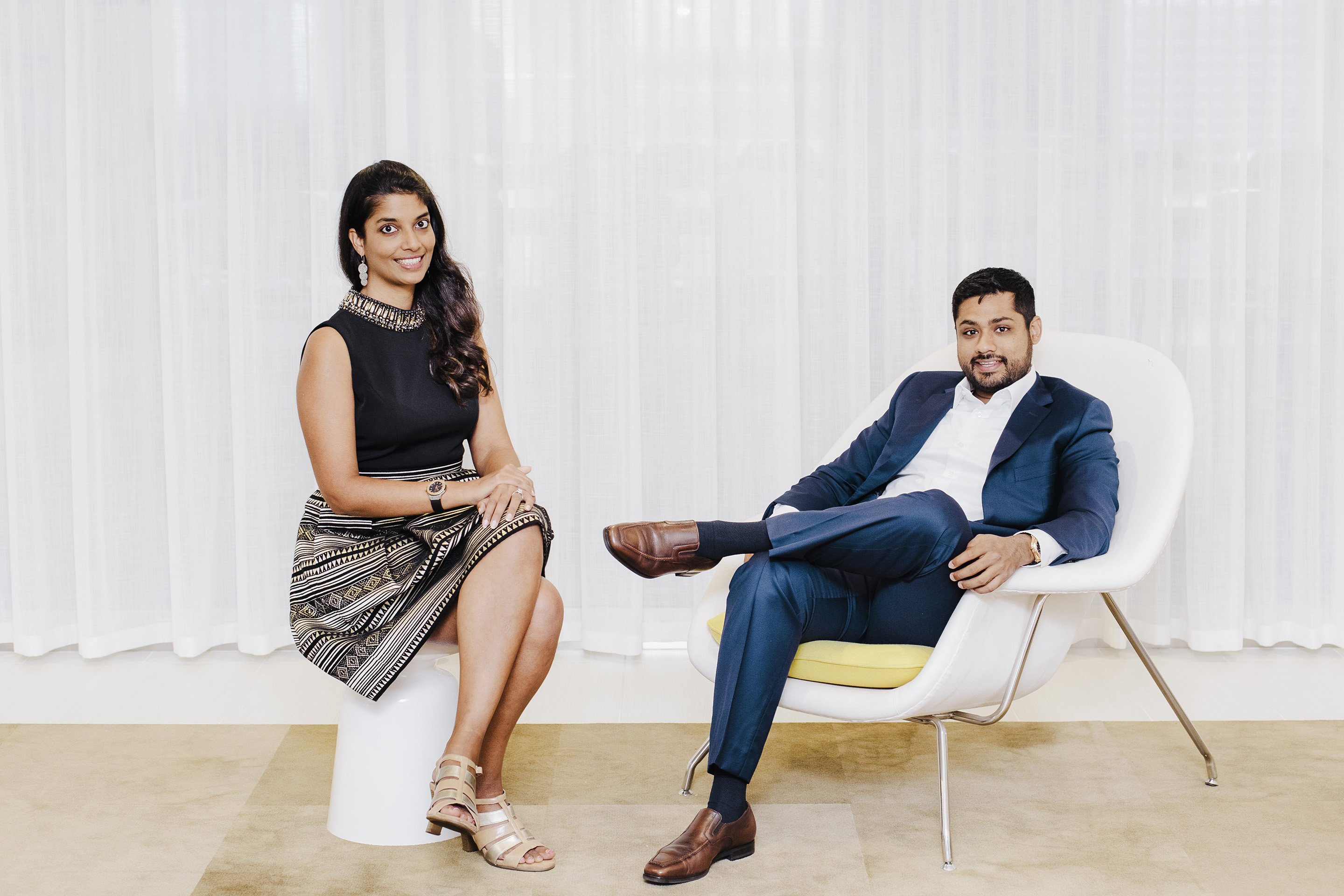 Shradha Agarwal, left, and Rishi Shah, the founders of ContextMedia, in Chicago.