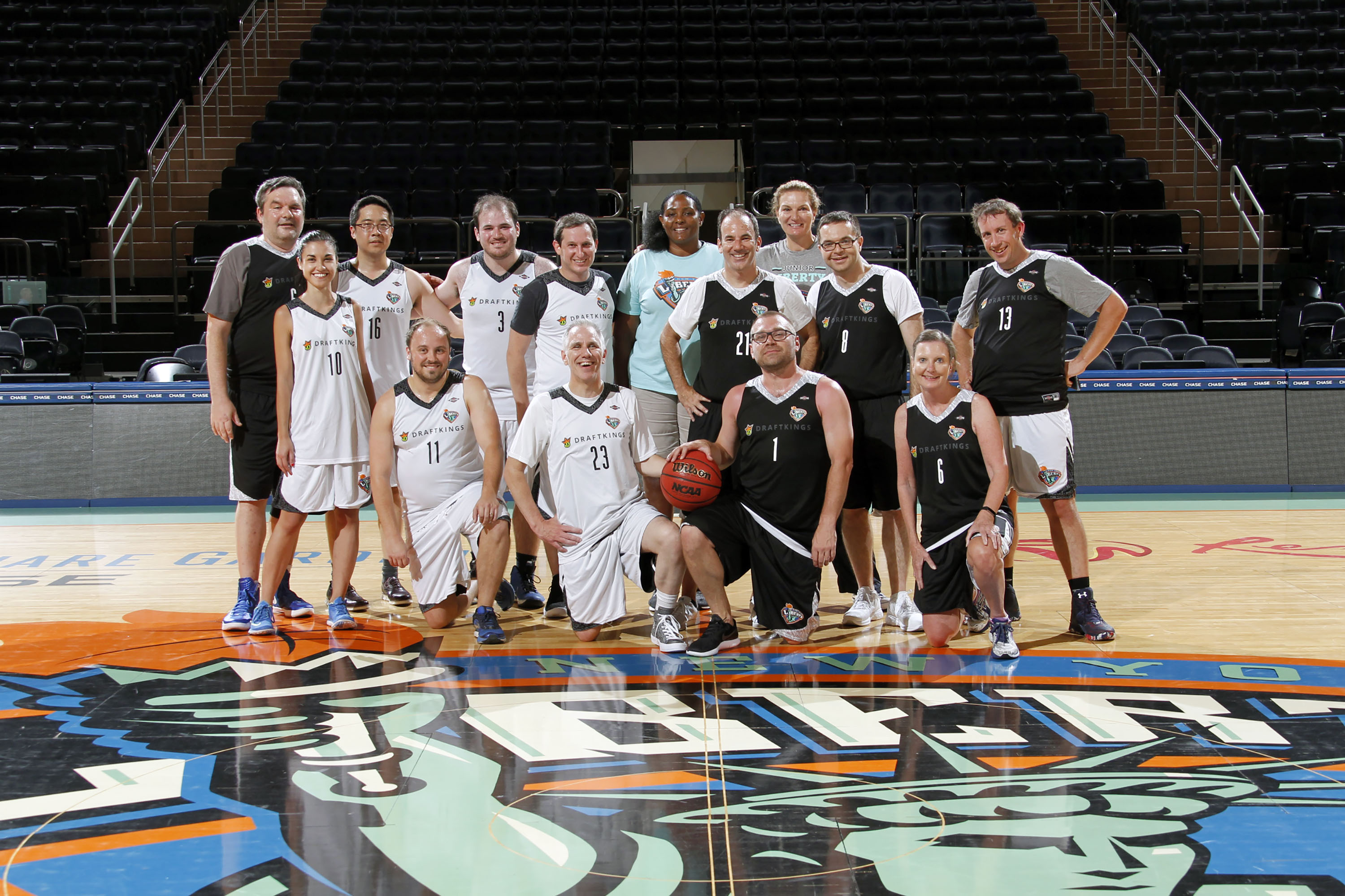 Reporters and DraftKings executives played basketball at Madison Square Garden on Tuesday afternoon.