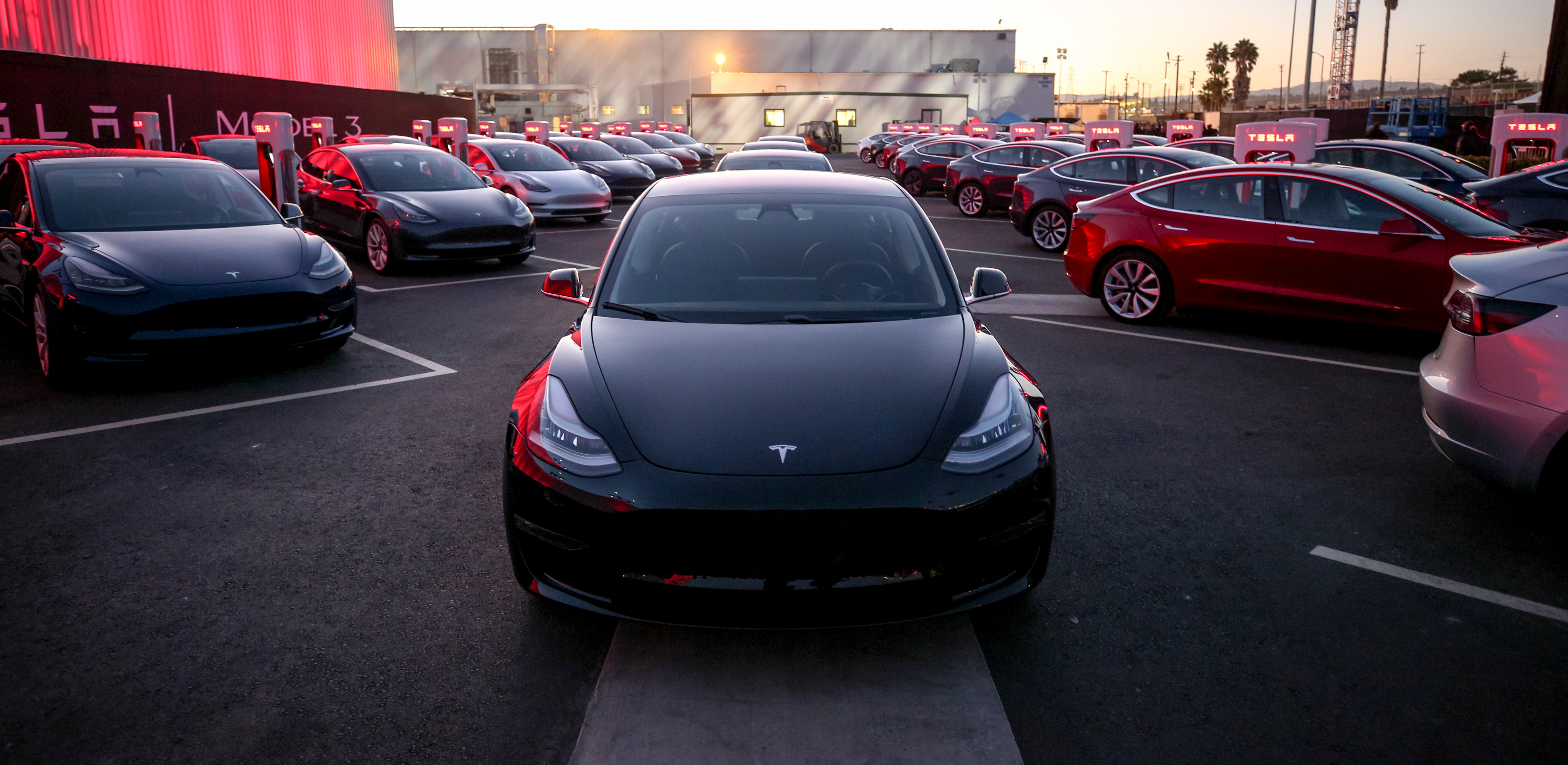 The Model 3 at Tesla's hand over event July 28, 2017 at its factory in Fremont, Calif.