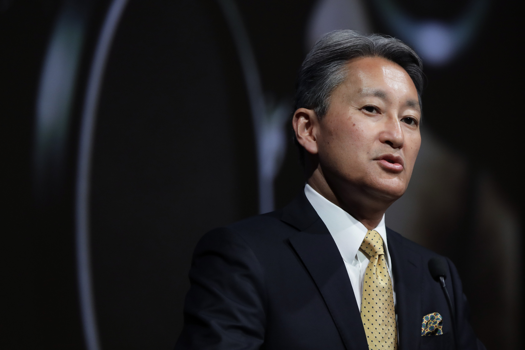 Kazuo Hirai, president and chief executive officer of Sony Corp., speaks during a news conference in Tokyo, Japan, on Tuesday, May 23, 2017.  Photographer: Kiyoshi Ota/Bloomberg