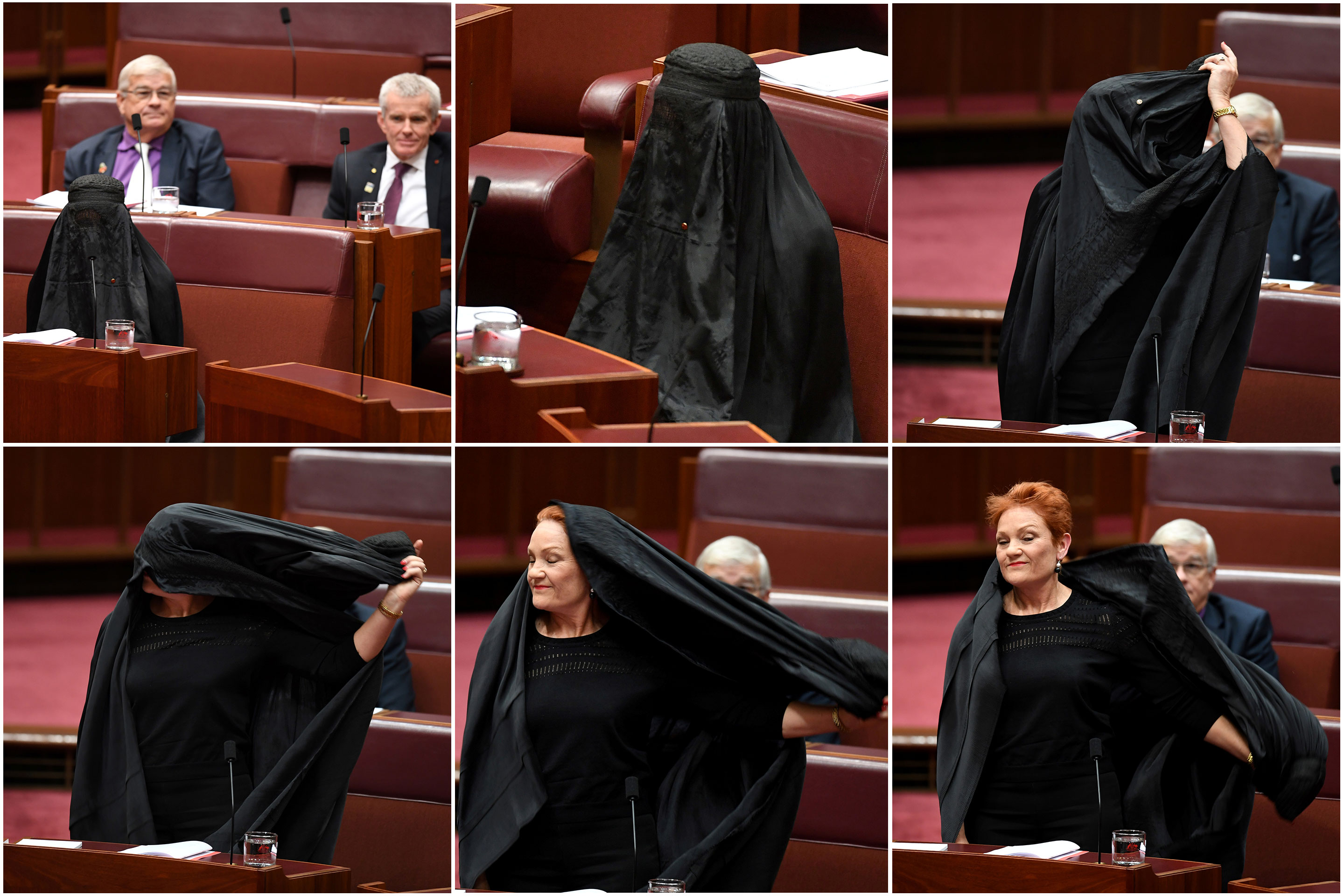 Australian One Nation party leader, Senator Pauline Hanson, wears, then removes, a burqa.
