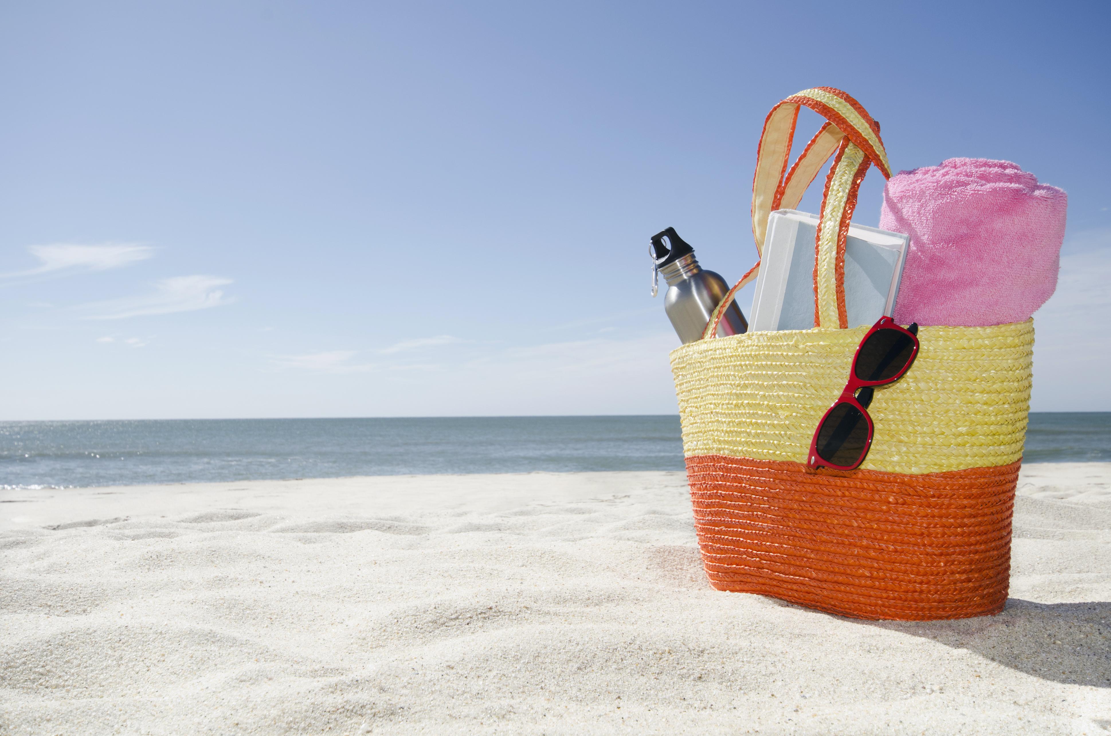 USA, Massachusetts, Nantucket, Beach bag with accessories