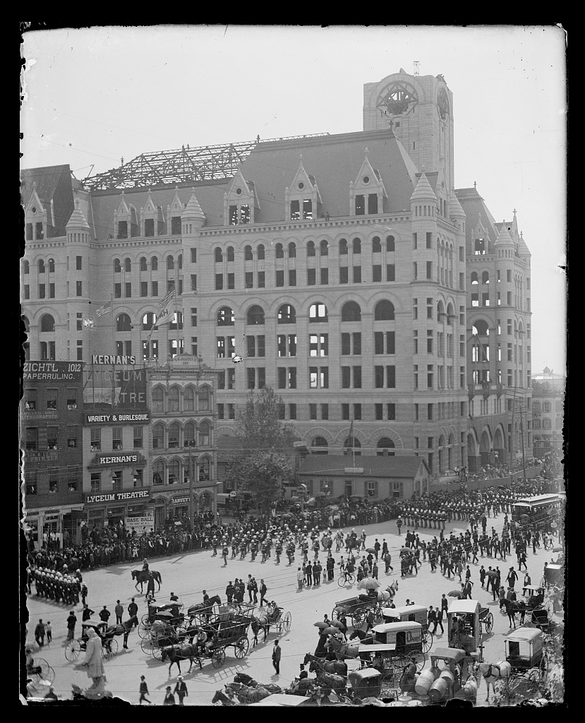 Labor Day parade on Pennsylvania Avenue in the vicinity of Kernan's Lyceum Theater and unfinished Post Office building in Washington D.C., 1894.