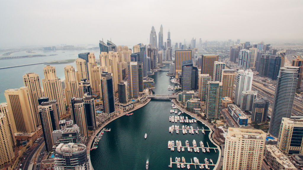 The Dubai Marina is seen from above