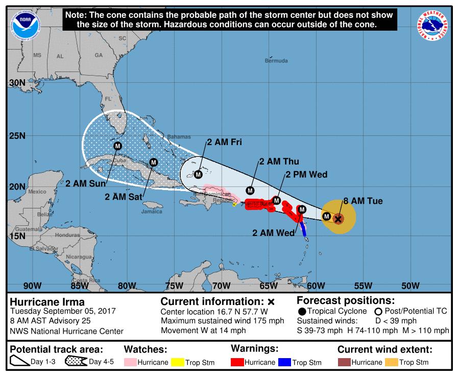 National Weather Service: Hurricane Irma path (Sep 5, 2017)