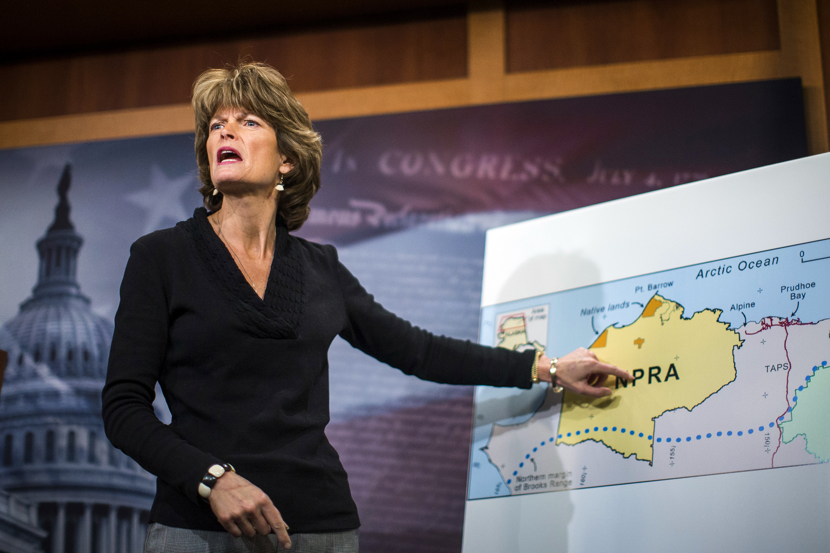 Sen. Lisa Murkowski, (R-Alaska) during a news conference opposing plans to protect a big swath of the state's Arctic National Wildlife Refuge from drilling.