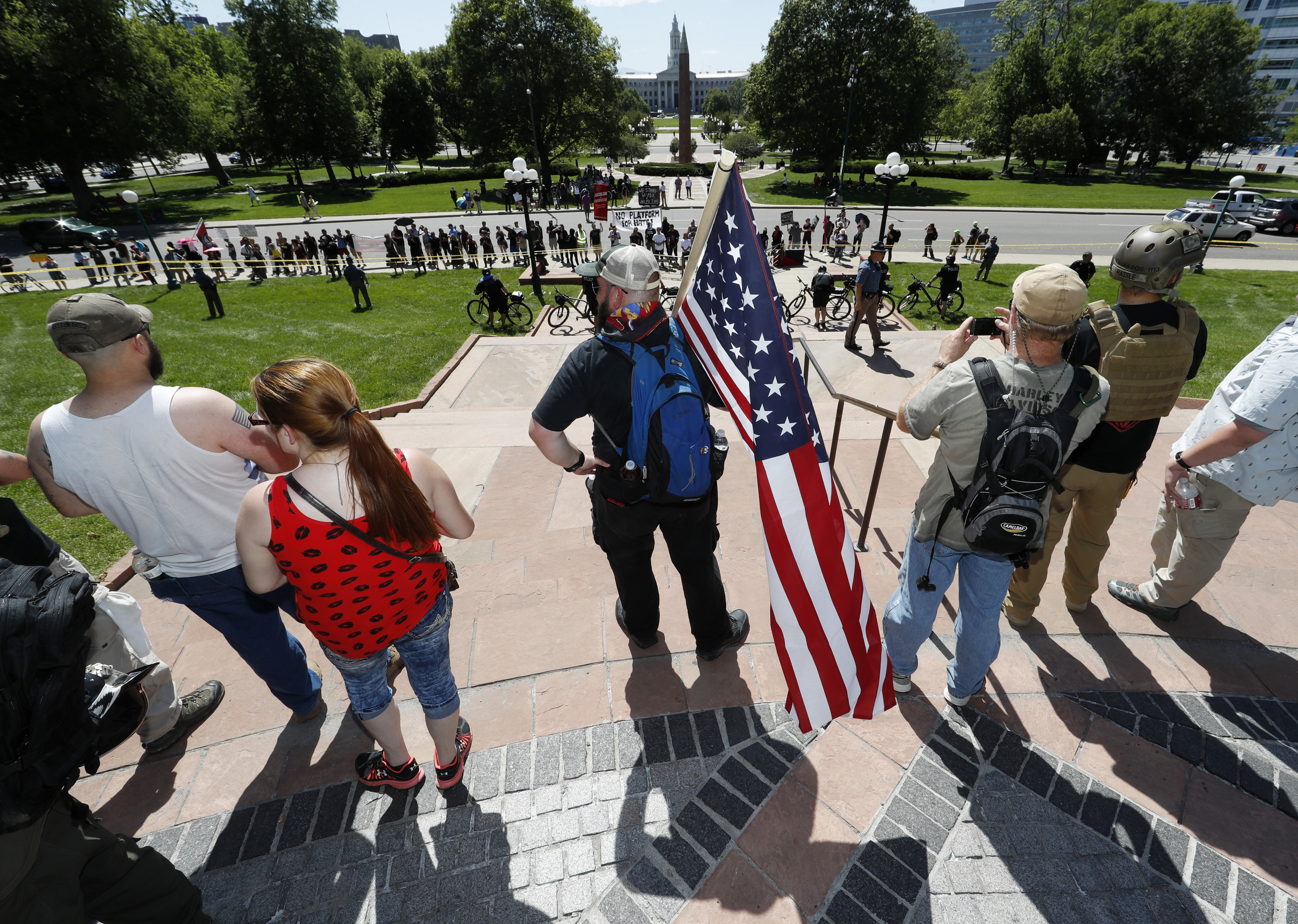 Denver State Capitol, anti Muslim protesters