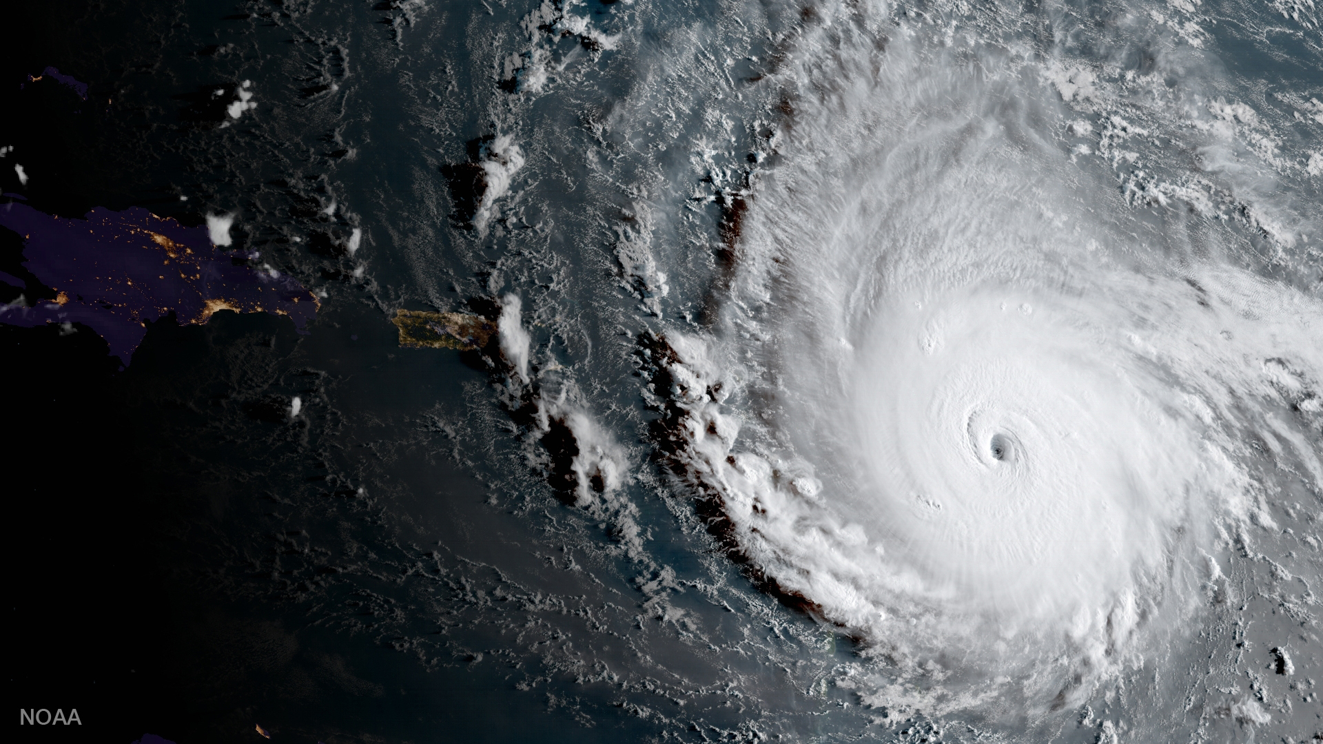 A geocolor image of Hurricane Image captured by GOES-16.