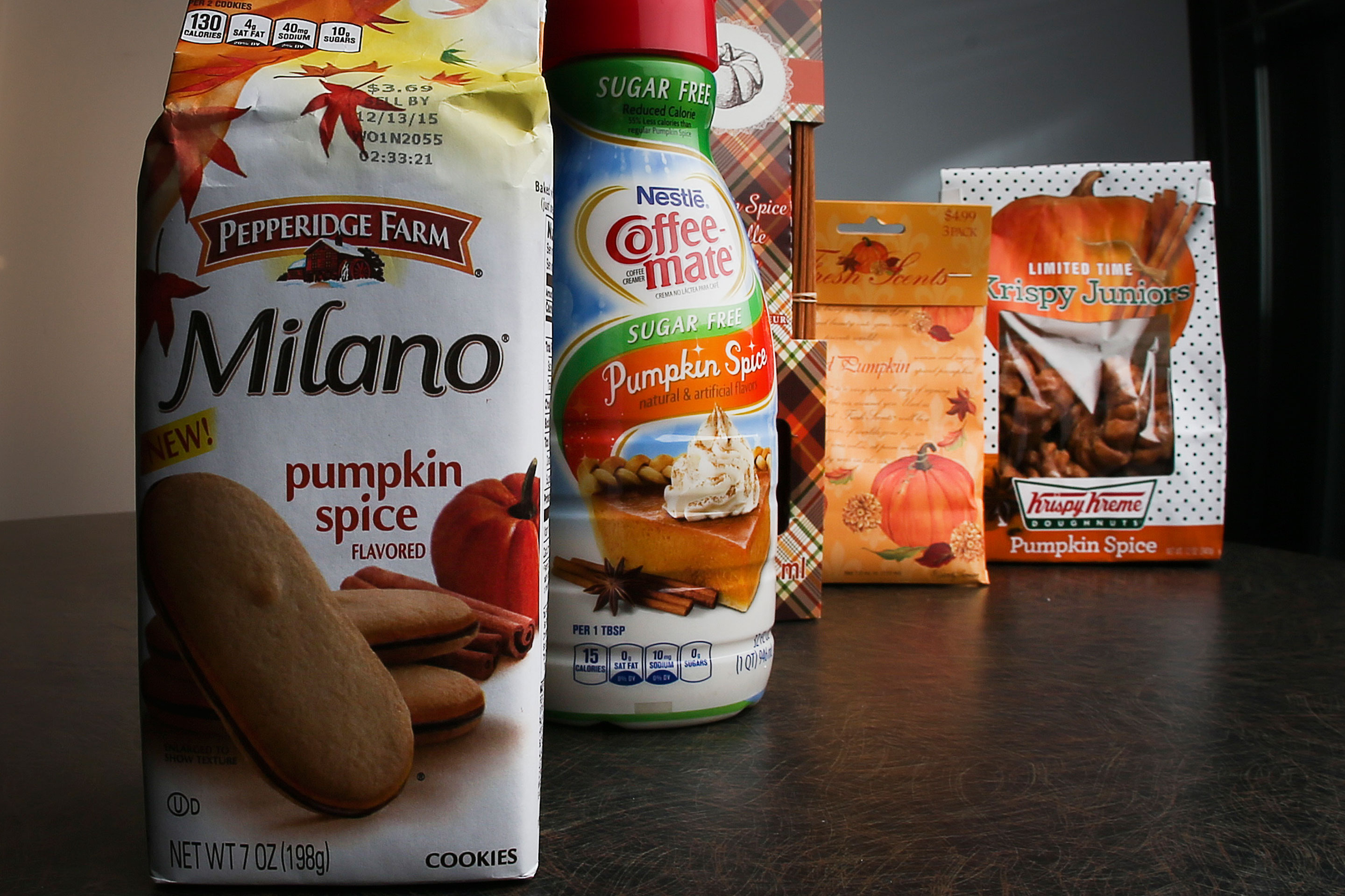 Pumpkin spice products ranging from cookies and donuts to candy and air freshener.