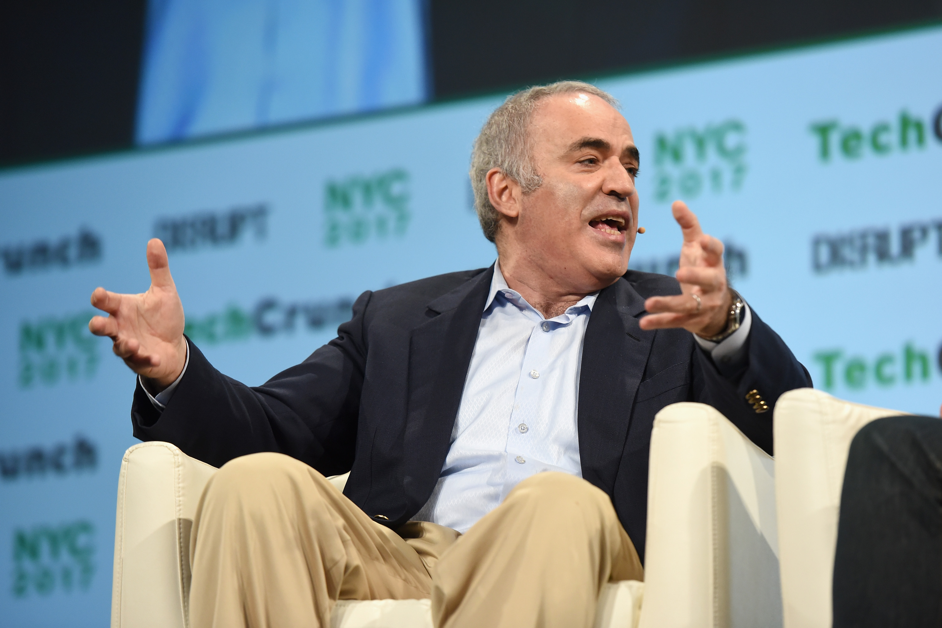 Chess Grandmaster and writer Garry Kasparov speaks onstage during TechCrunch Disrupt NY 2017 - Day 3 at Pier 36 on May 17, 2017 in New York City.