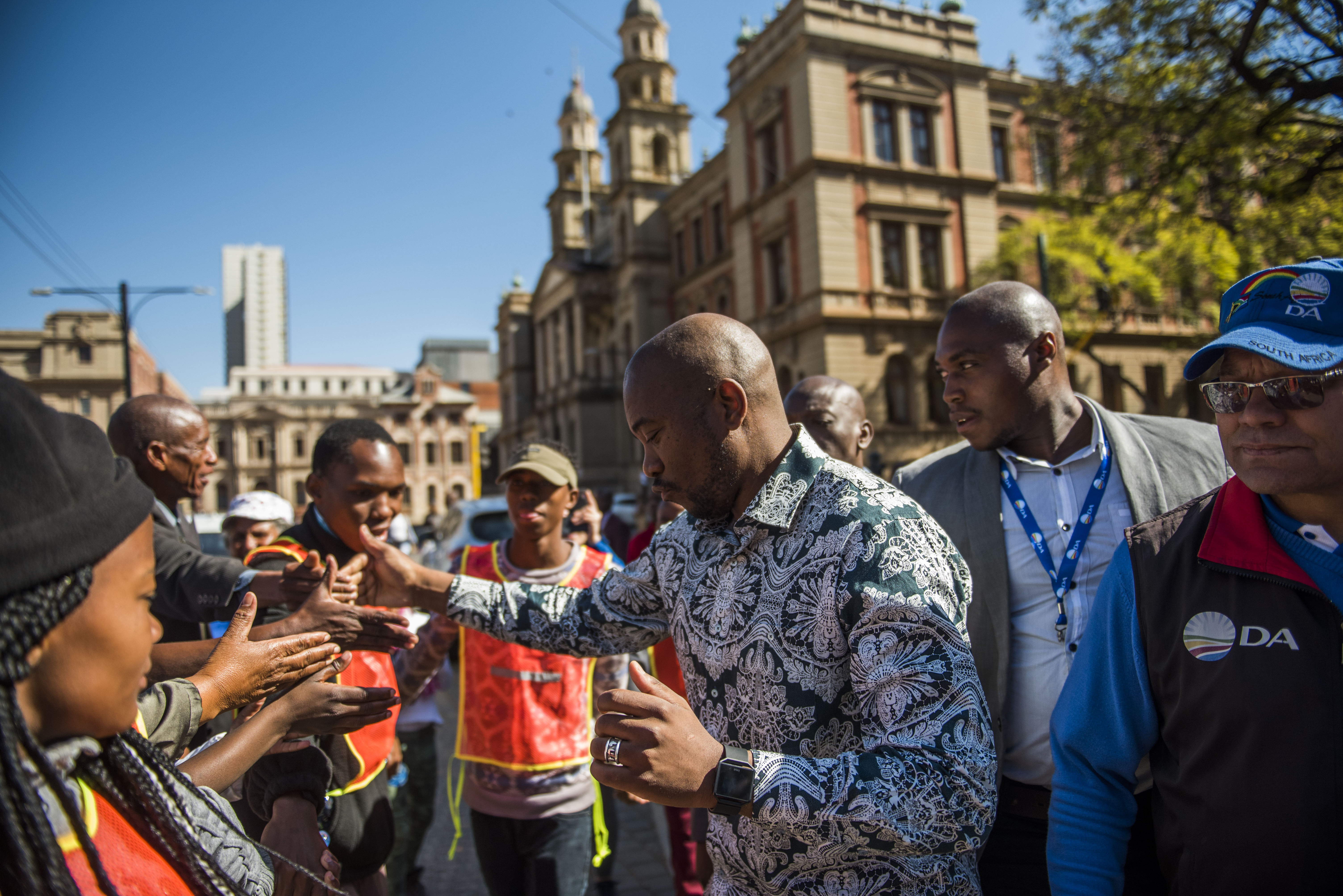 South African main Opposition Party Democratic Alliance marches to Treasury