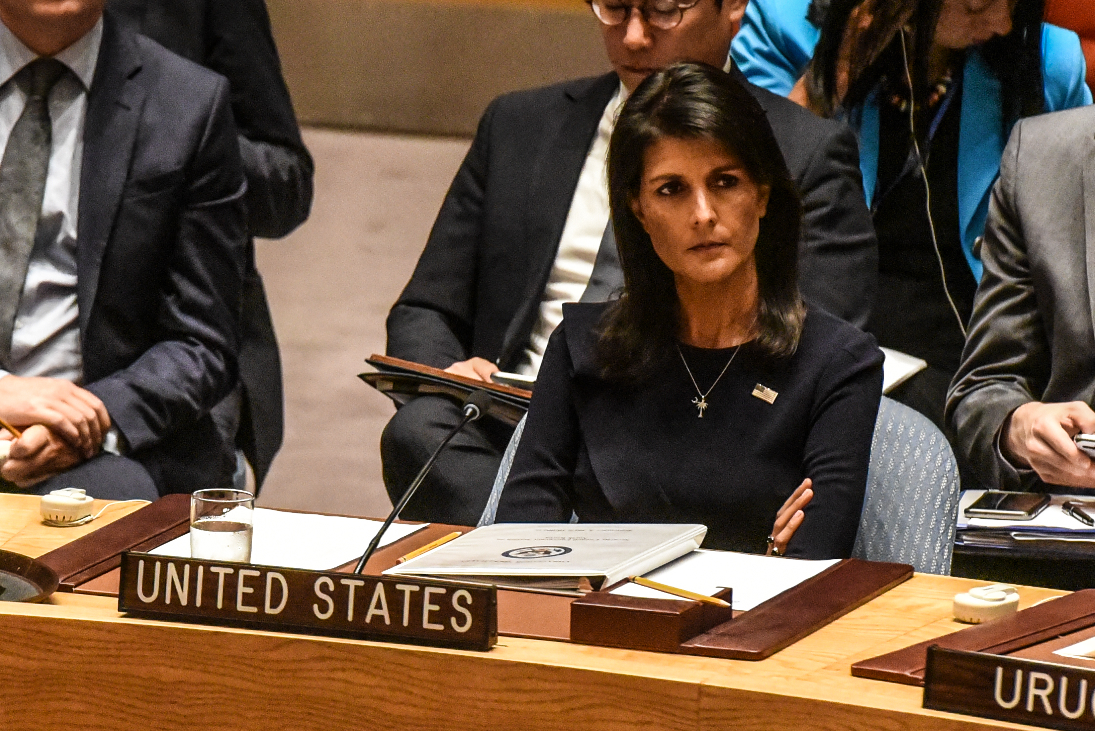 U.S. Ambassador to the UN Nikki Haley listens to remarks during a United Nations Security Council meeting on North Korea on September 4, 2017 in New York City.