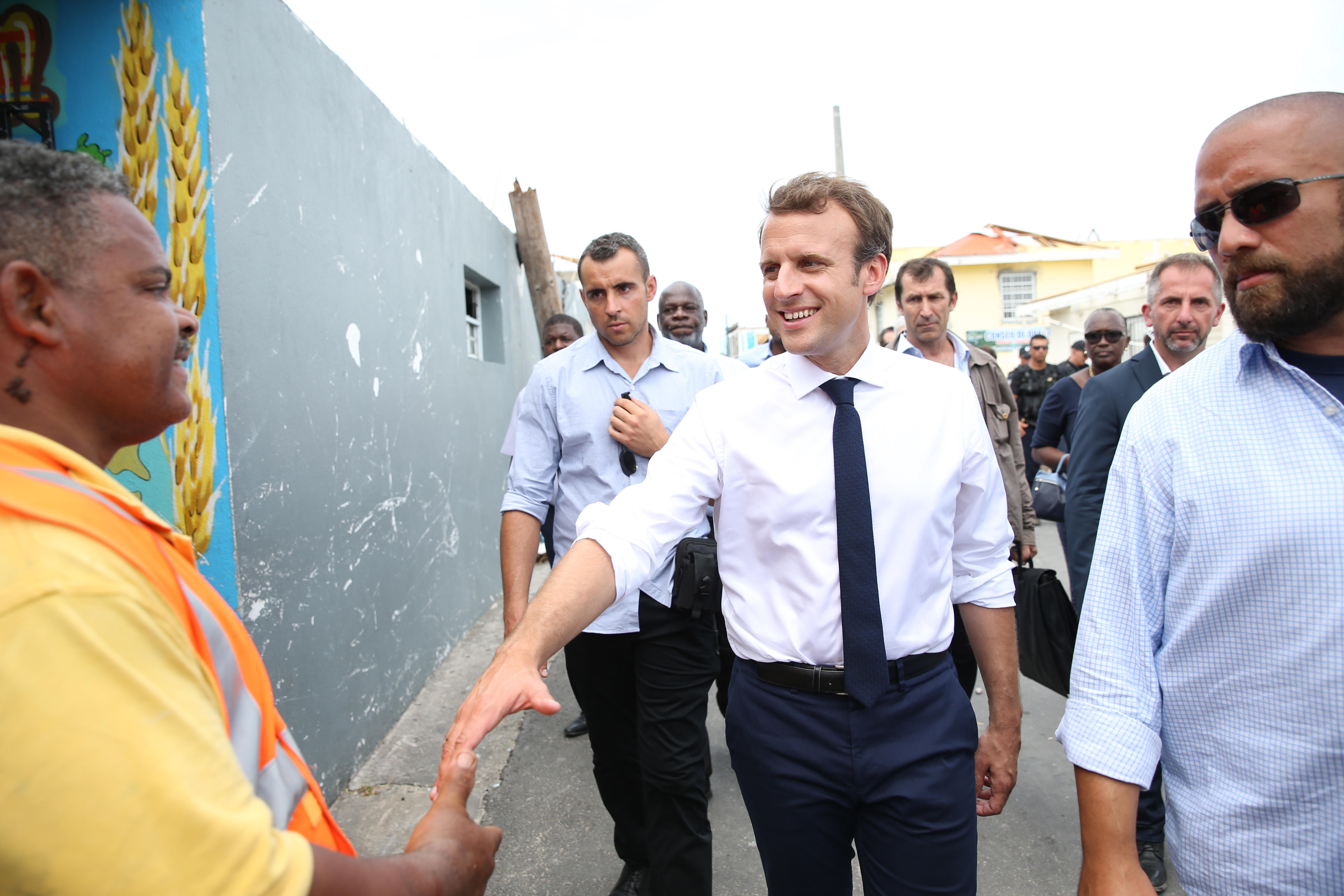 French Presidente Emmanuel Macron Visits Saint Martin After Hurrican Irma