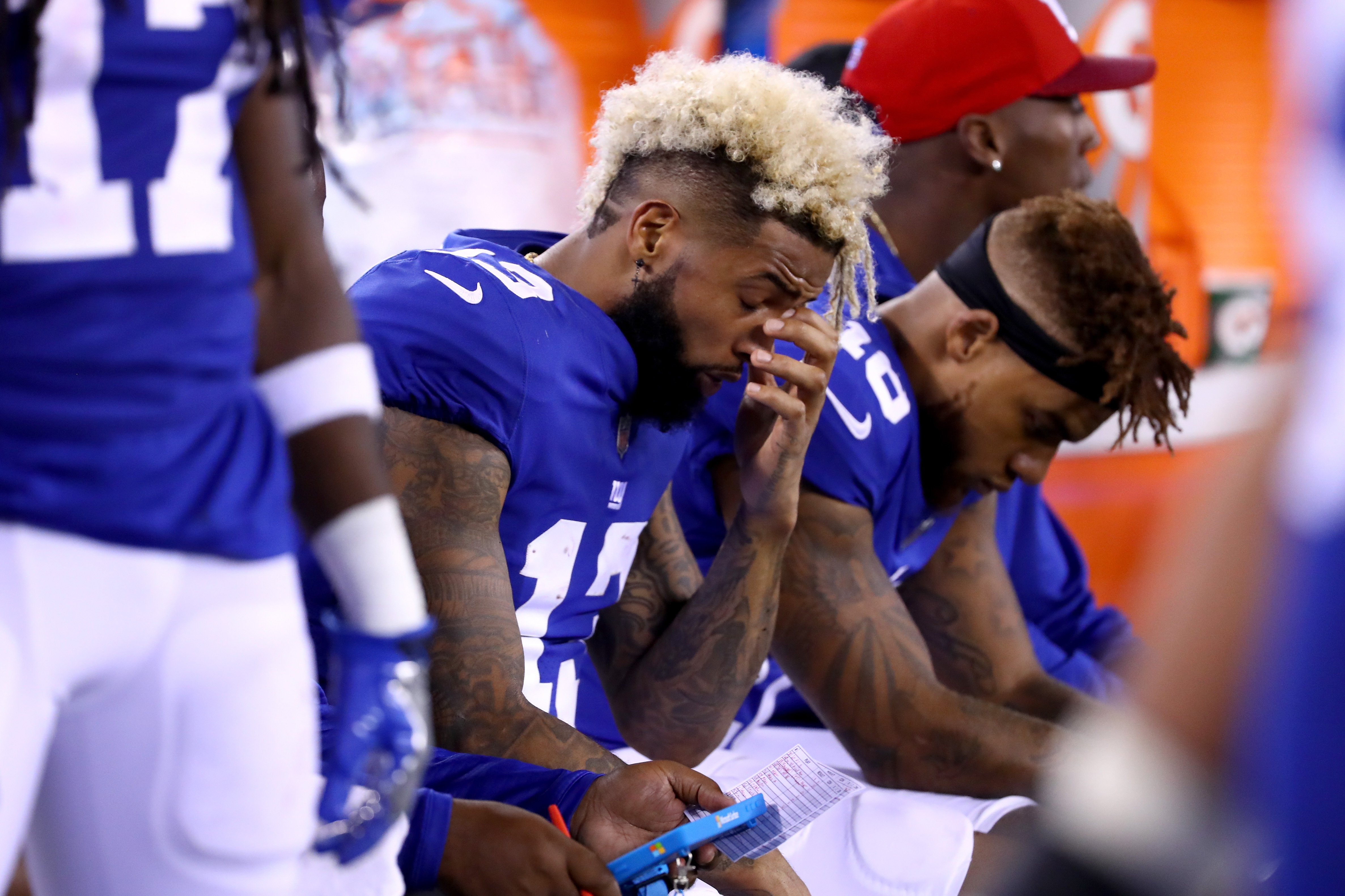 Odell Beckham Jr. #13 of the New York Giants reacts on the sideline in the fourth quarter against the Detroit Lions during their game at MetLife Stadium on September 18, 2017 in East Rutherford, New Jersey.