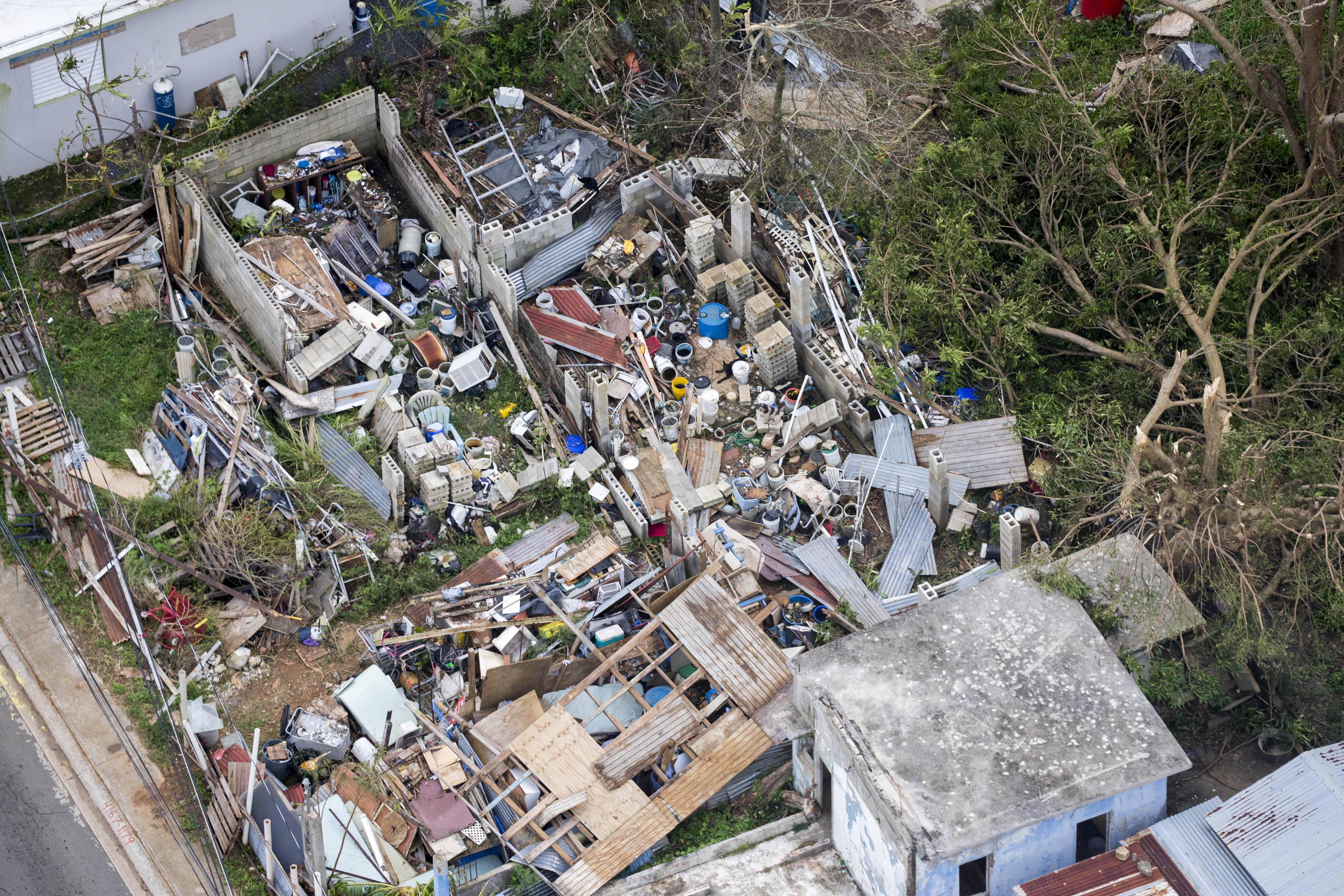 PUERTO RICO  SEPTEMBER 22: Destroyed house in Fajardo Puerto Ri