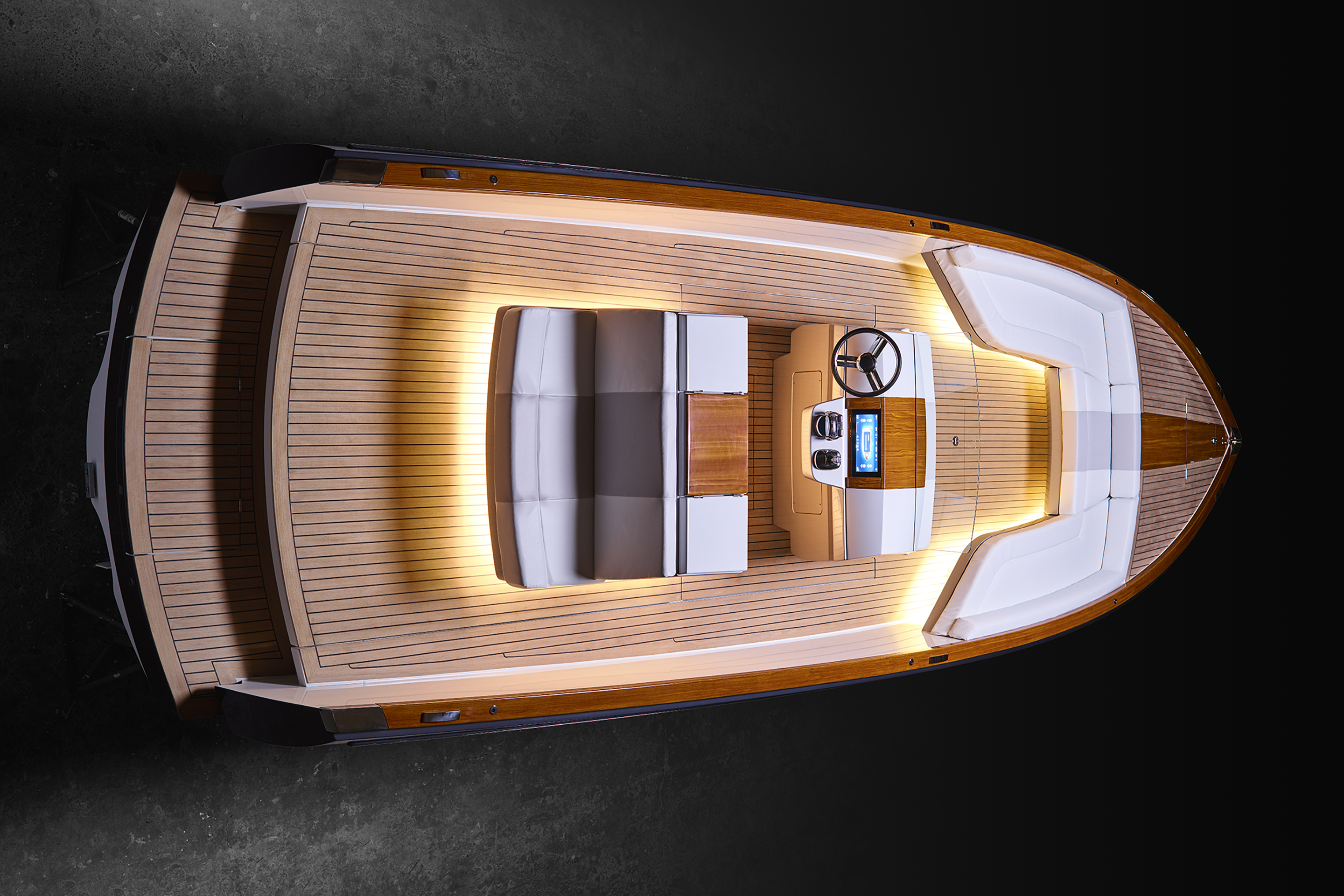Hinckley Yachts unveiled the Dasher, a 28.6-foot fully electric yacht Thursday, September 14, 2017 at the Newport International Boat Show. The company says it's the first fully electric luxury yacht in the world.