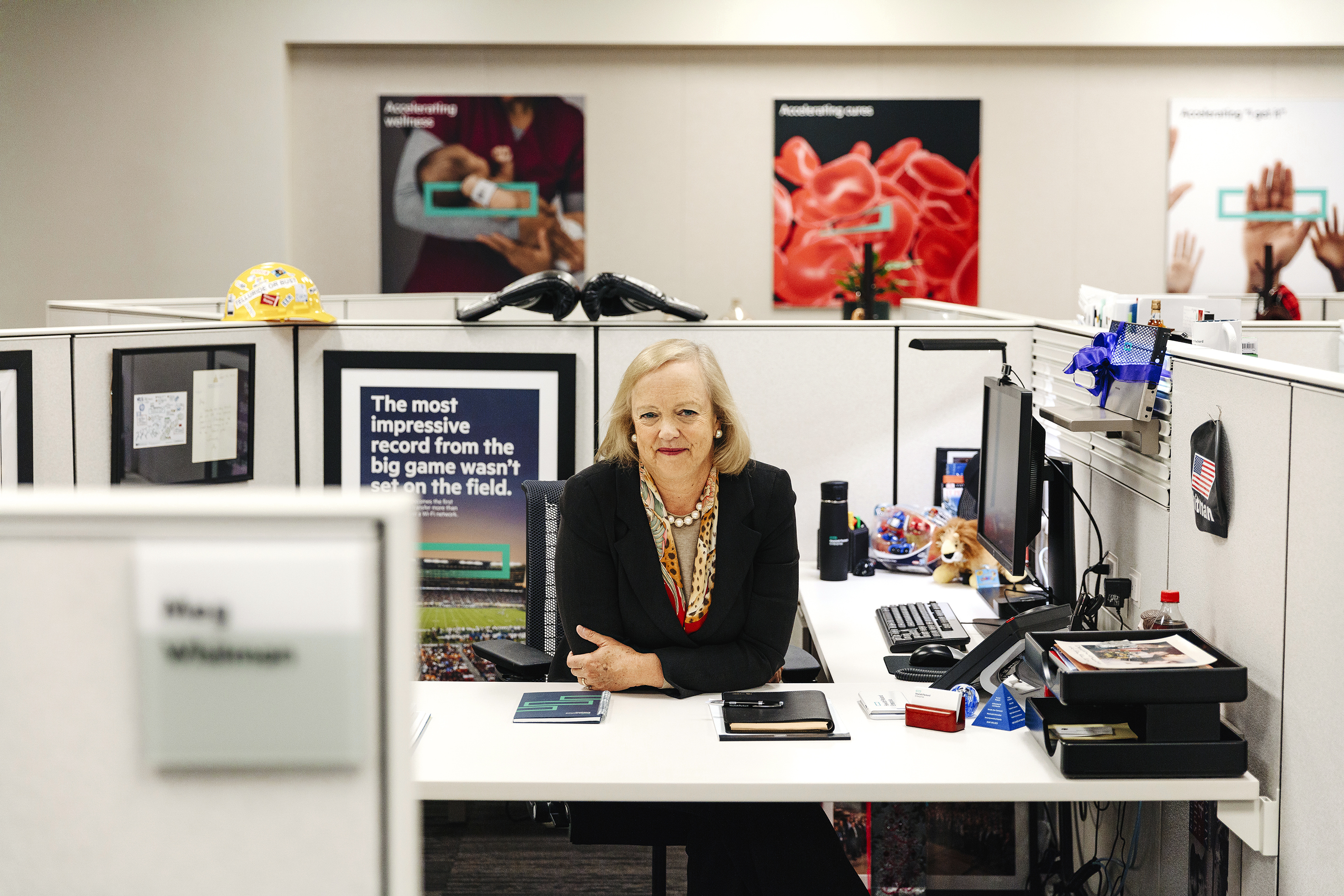 Meg Whitman, Hewlett Packard Enterprise CEO, sits at her desk at the Hewlett Packard Corporate Headquarters in Palo Alto, California September 13, 2017. Credit: Brinson+Banks