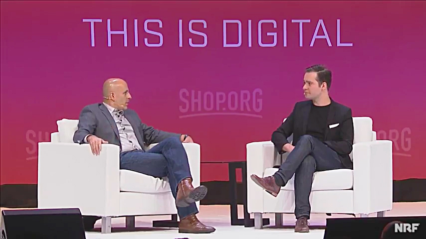 Walmart.com CEO Marc Lore and Fortune digital editor Andrew Nusca at the 2017 Shop.org conference in Los Angeles.